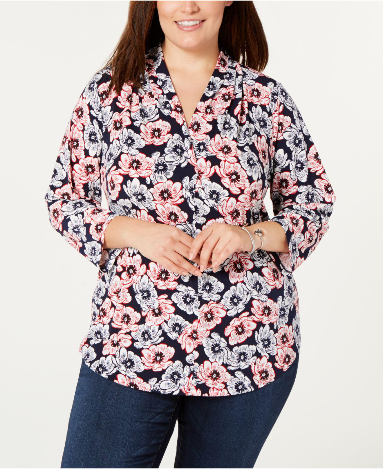 ef50171264c88 Charter Club. Women s Blue Plus Size Printed 3 4-sleeve Top ...
