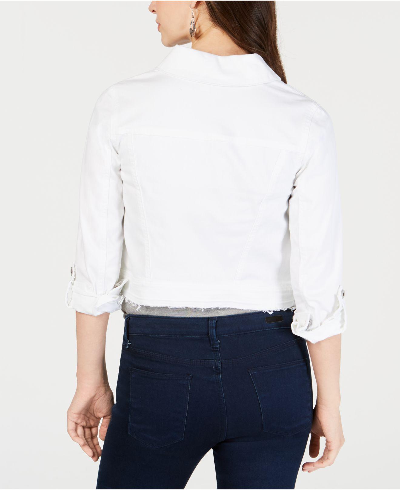 172223d49c604 Lyst - Style   Co. Petite Released-hem Cropped Denim Jacket