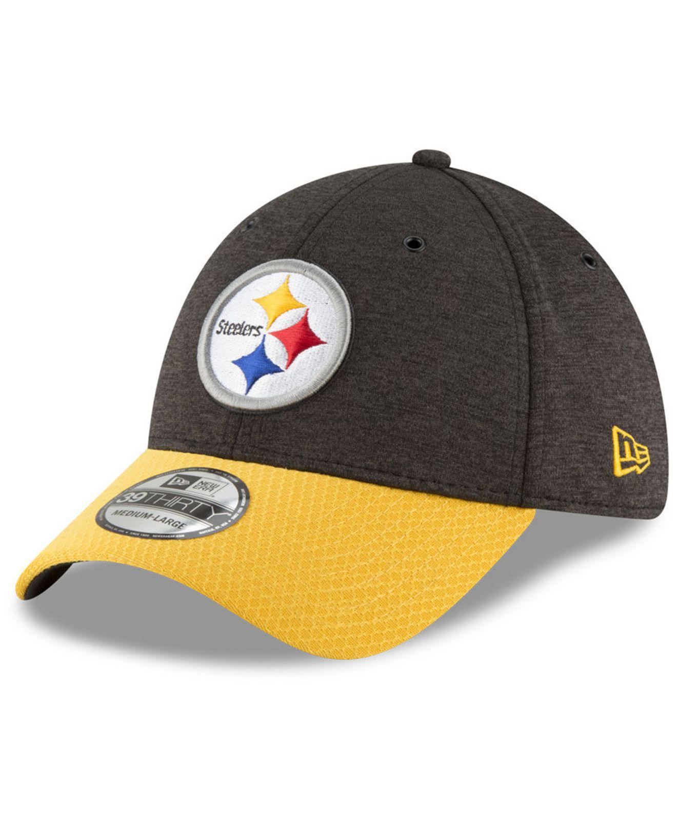 KTZ. Men s Black Pittsburgh Steelers On Field Sideline Home 39thirty Cap 02b4f9bd5
