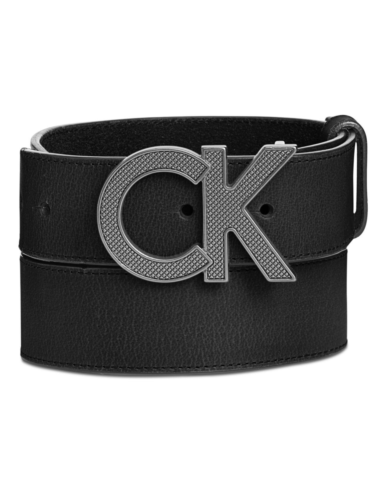 Lyst - Calvin Klein Men s Matte Leather Casual Logo Belt in Black ... 03fe9501d19