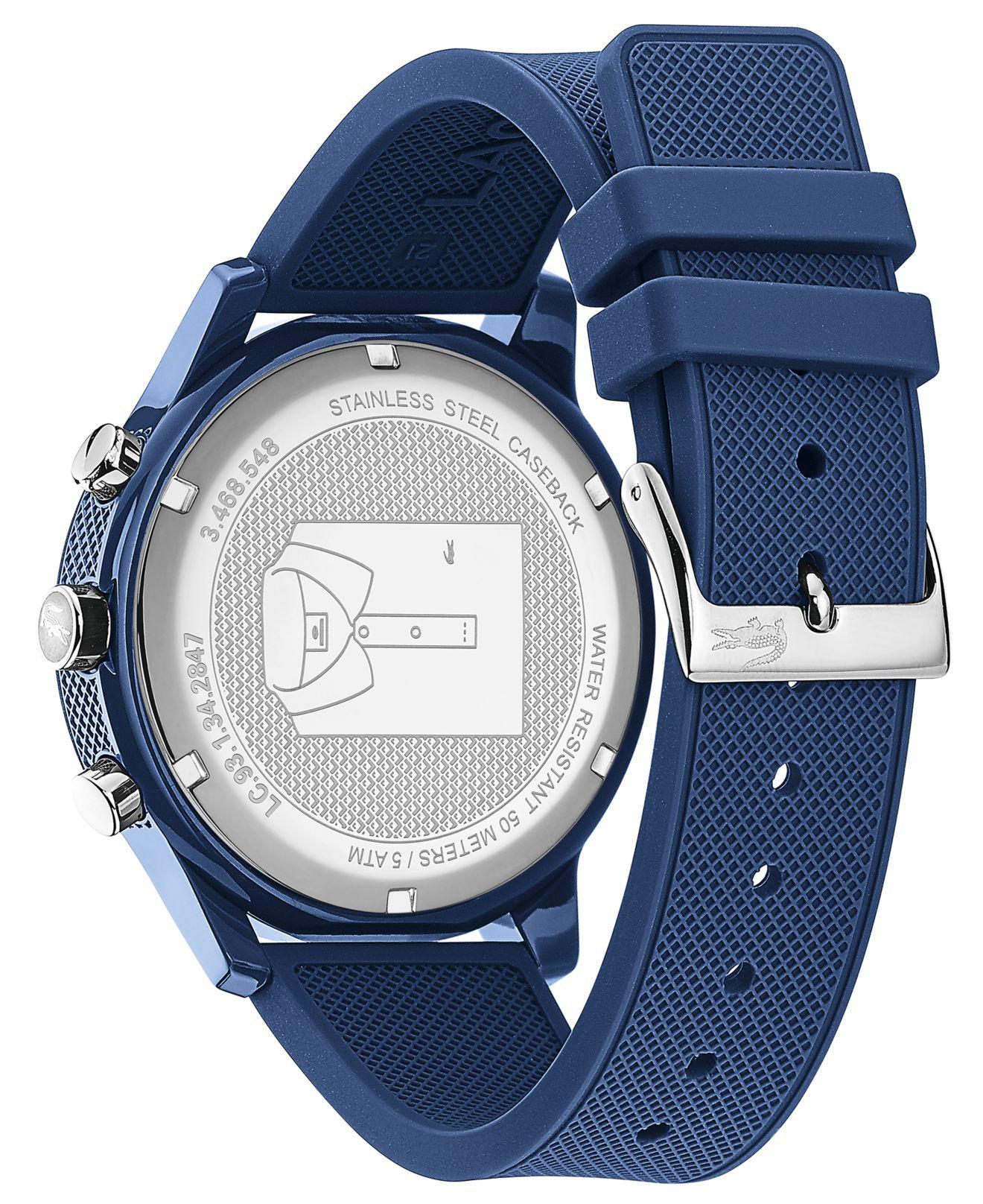 Lacoste - 12.12 Chronograph Watch With Blue Silicone Strap for Men - Lyst. View fullscreen