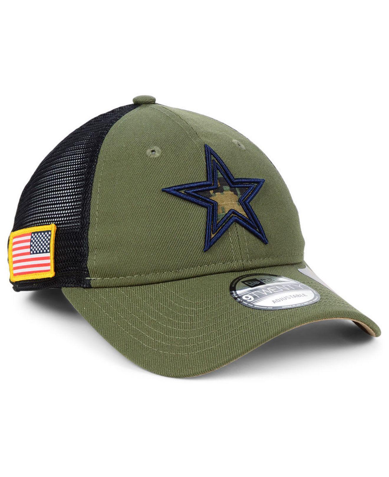 KTZ. Men s Green Dallas Cowboys Nfl Camo Service Patch 9twenty Trucker Cap 2fd1a92b3