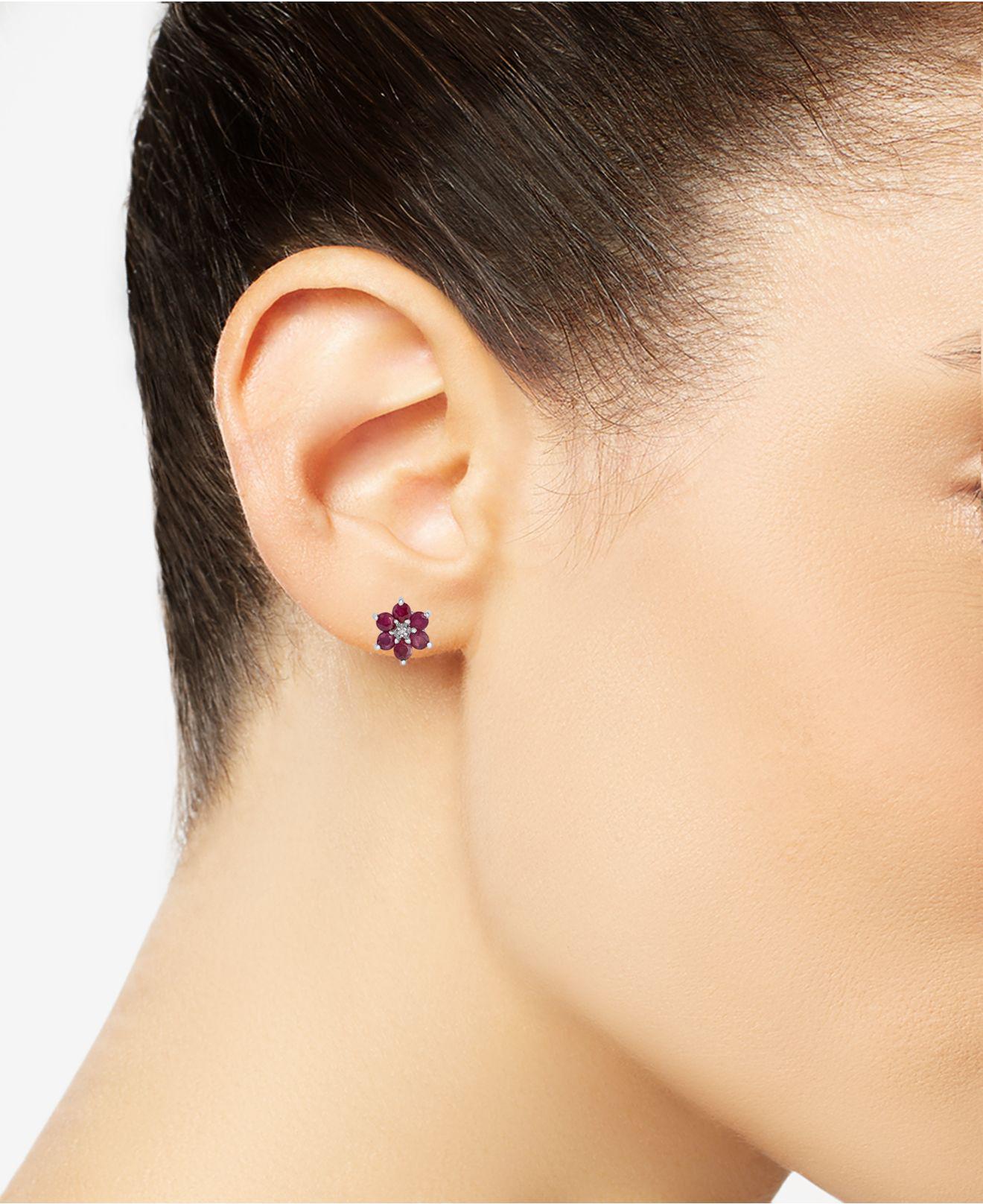 648cdf23d2c9d Women's Metallic Ruby (1-3/4 Ct. T.w.) & Diamond Accent Flower Stud  Earrings In Sterling Silver