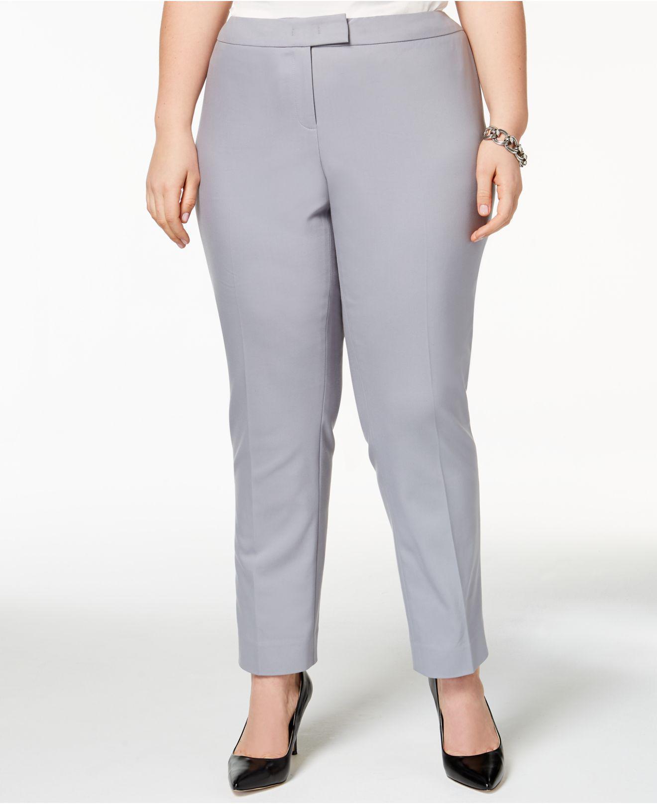 0779936c437 anne klein pants plus size Lyst - Anne Klein Plus Size Straight-leg Pants  in Gray - Save .