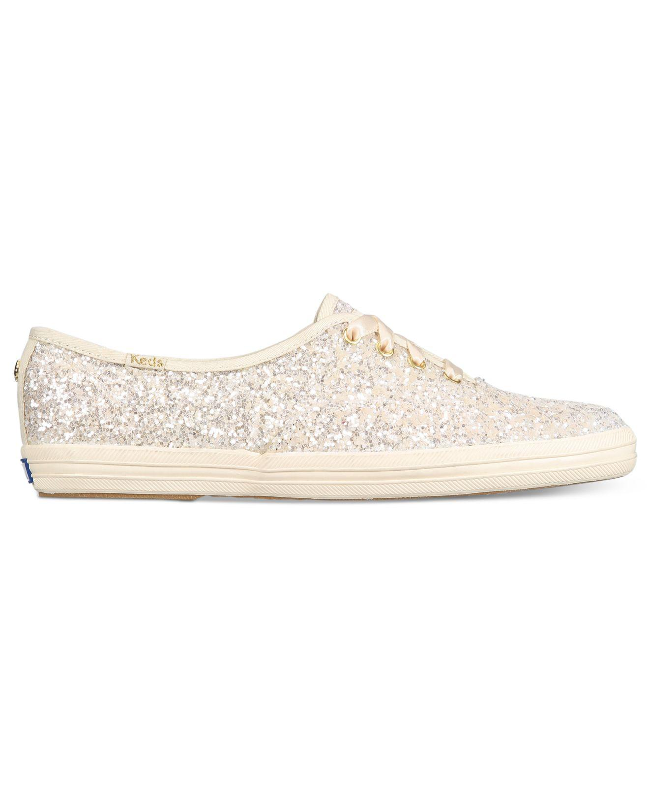2ab15d0ffe Lyst - Kate Spade Keds For Glitter Lace-up Sneakers in Natural
