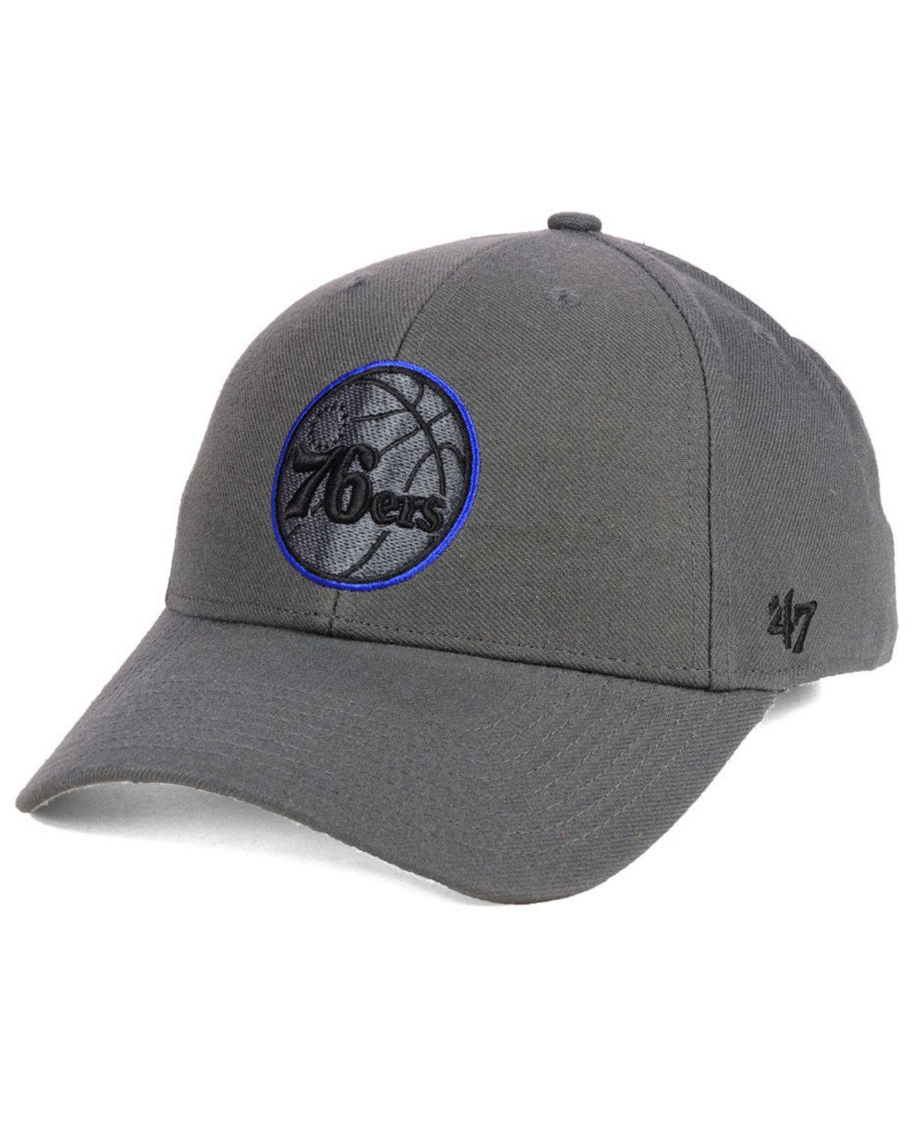 4946e9636a6aa Lyst - 47 Brand Philadelphia 76ers Charcoal Pop Mvp Cap in Gray for Men