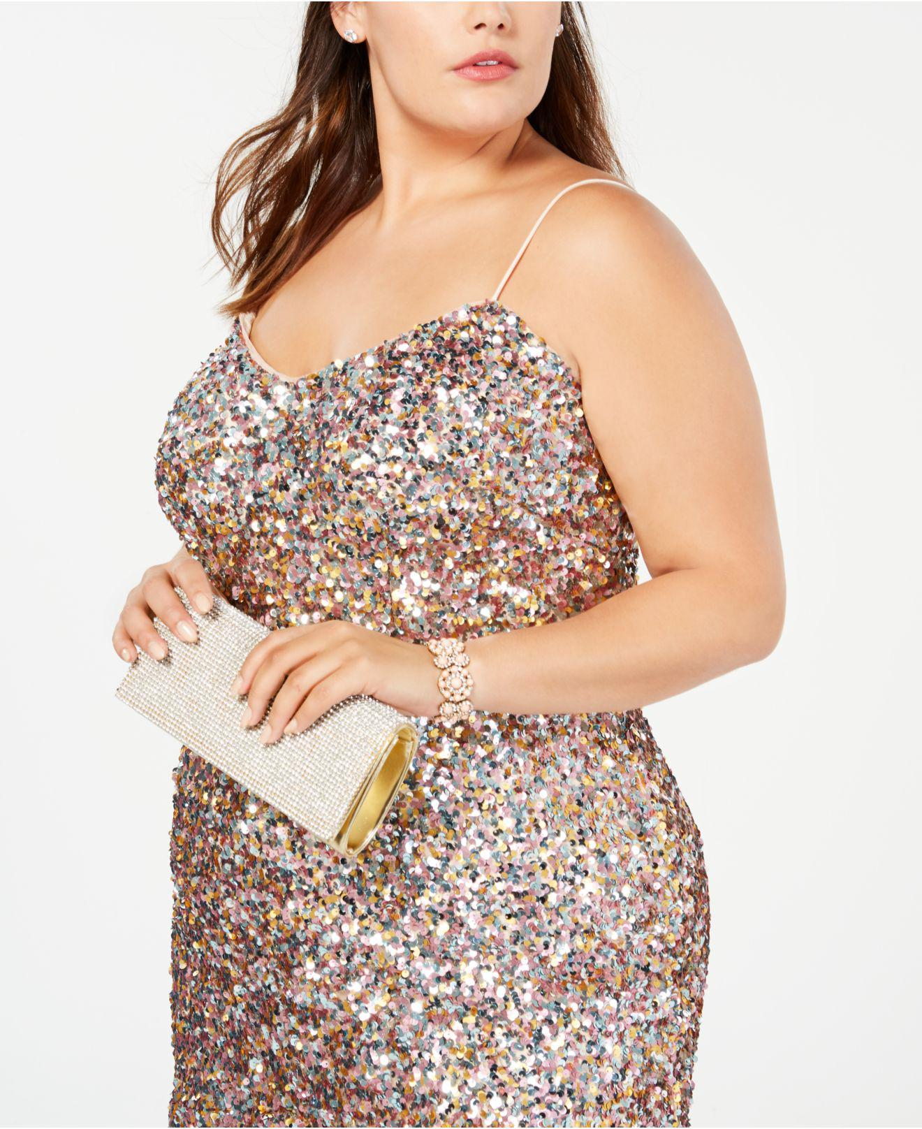 Adrianna Papell Pink Plus Size Multicolored Sequin Midi Dress