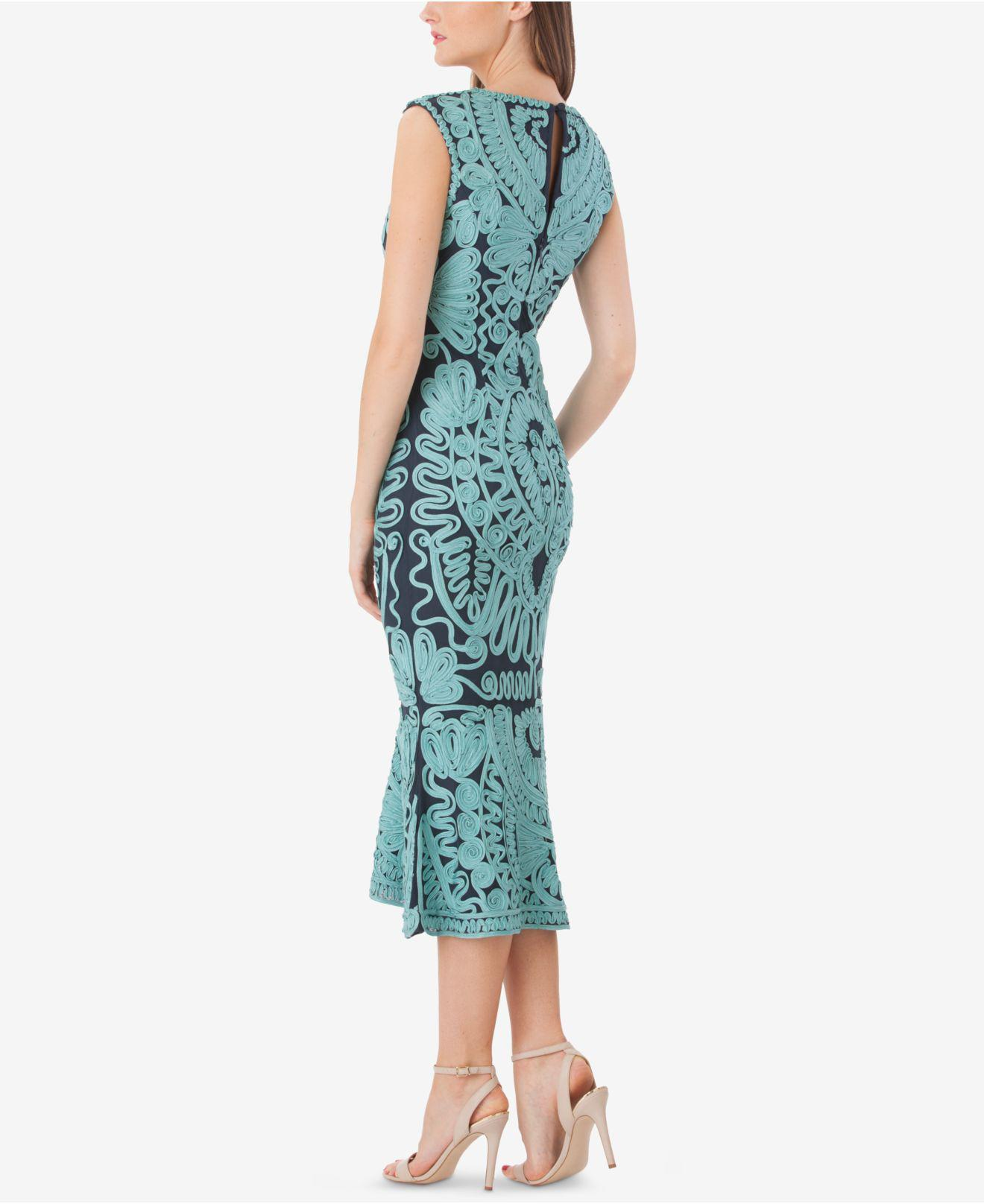 Lyst - Js Collections Embroidered Soutache Midi Dress in Green