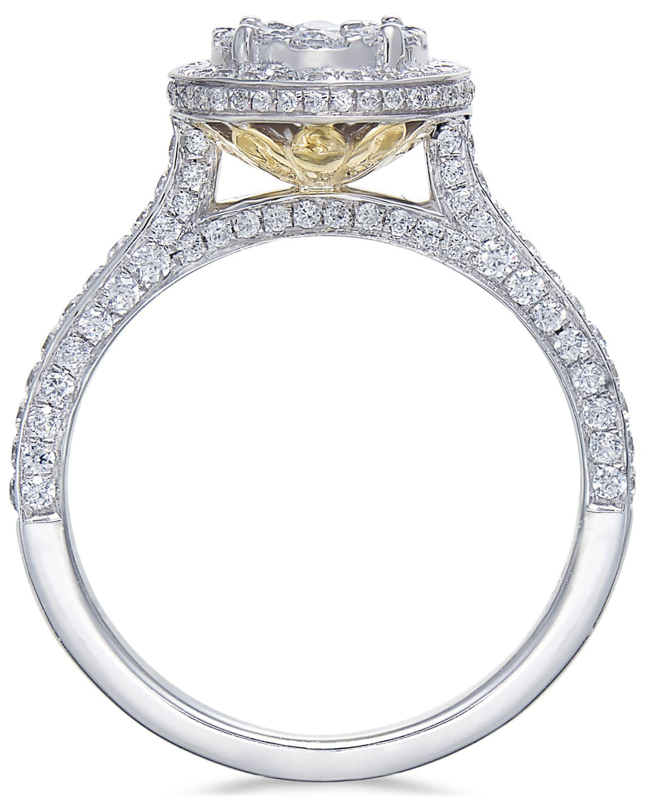 Macy s Diamond Cluster Bridal Set 1 1 2 Ct T w In 14k Gold And
