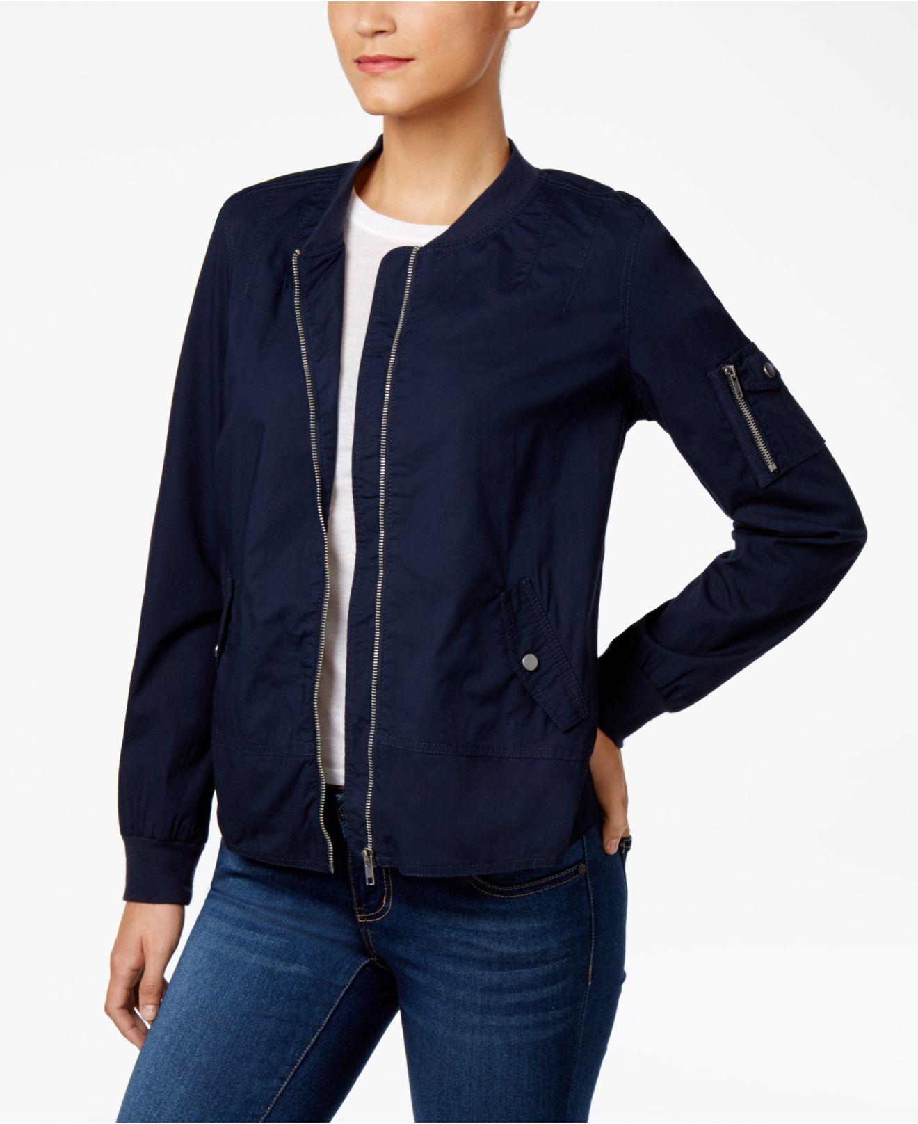 Style & co. Petite Poplin Bomber Jacket in Blue