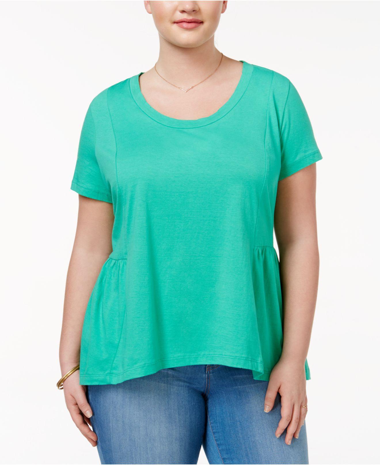 American Rag Trendy Plus Size Cotton Peplum T Shirt In