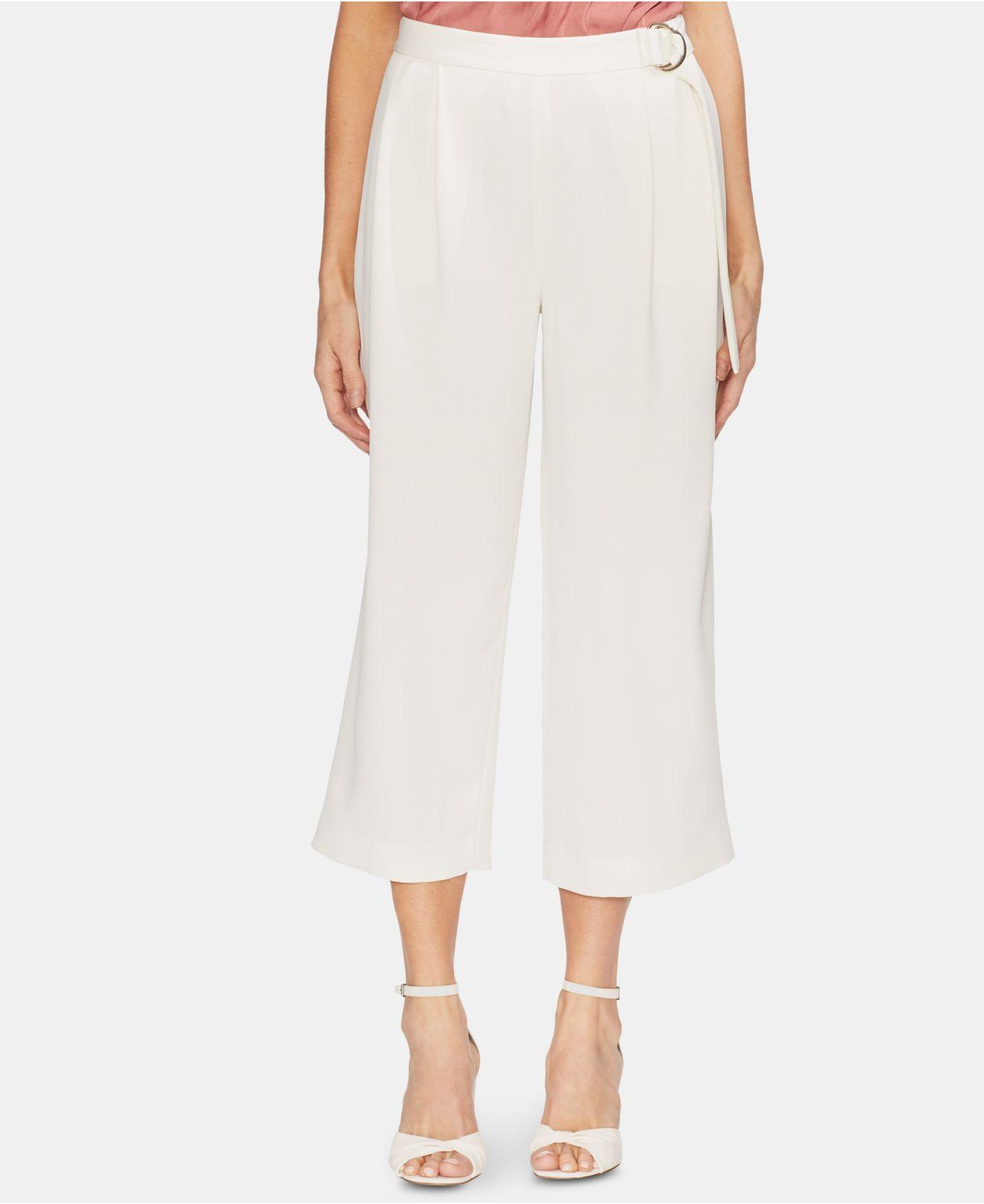 89fc4f64dc Lyst - Vince Camuto Cropped Wide-leg Pants in White