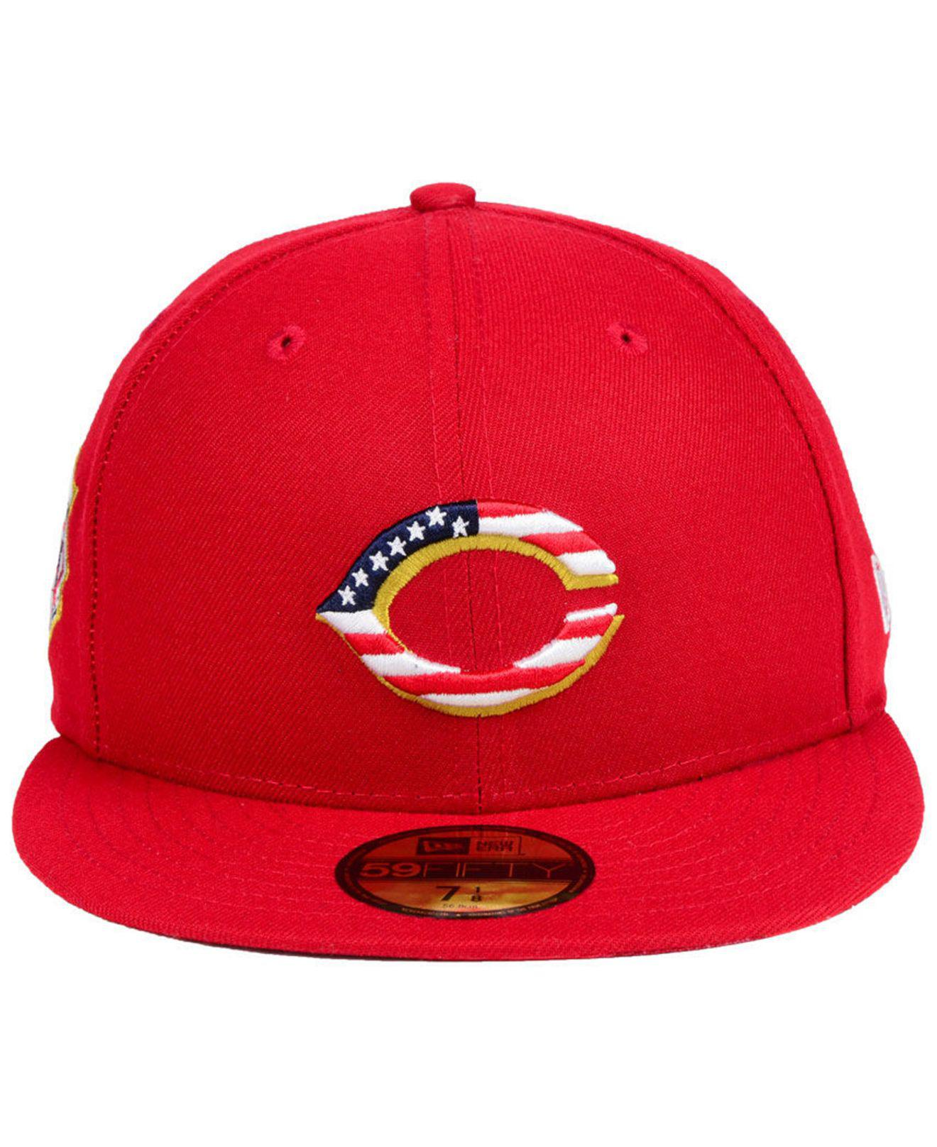 6f7211b7845 Lyst - KTZ Cincinnati Reds Stars And Stripes 59fifty Fitted Cap in Red for  Men