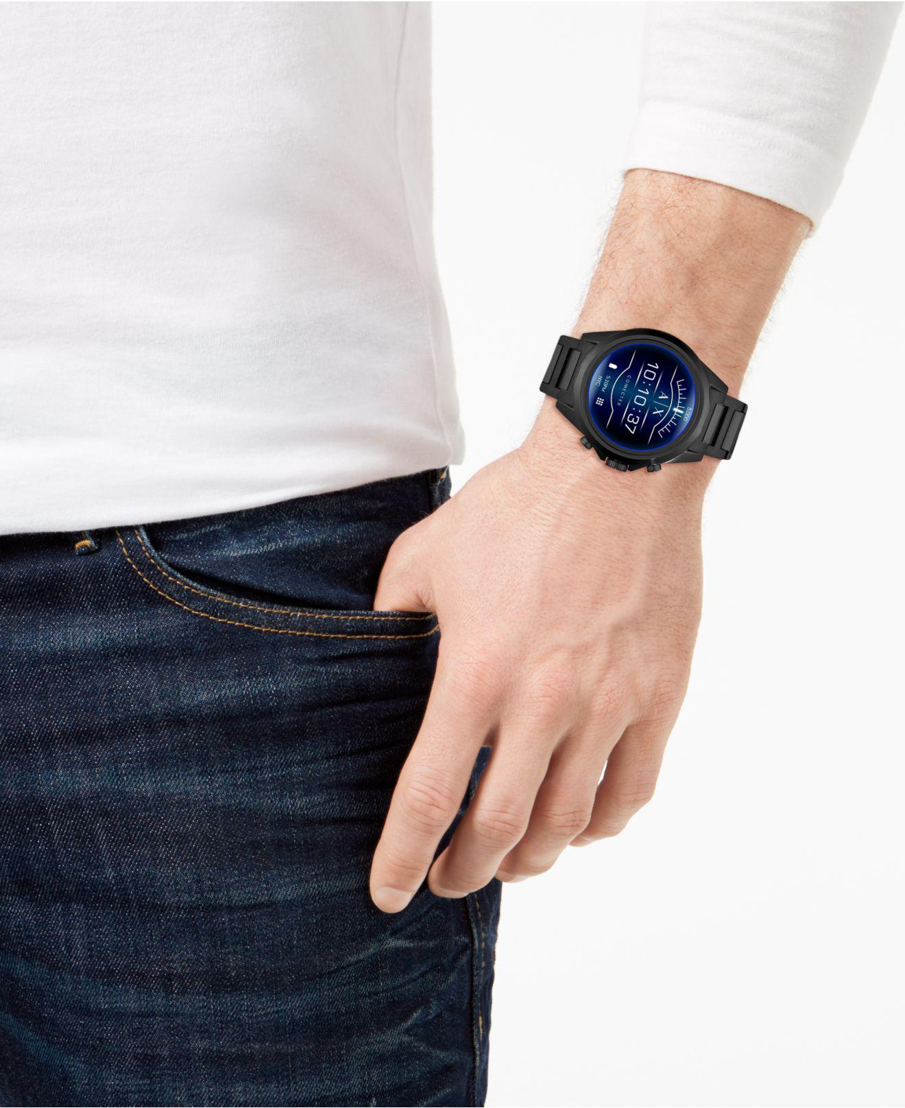 3bdc7beb1f0 Lyst - Armani Exchange Connected Black Stainless Steel Bracelet Touchscreen  Smart Watch 48mm in Black for Men