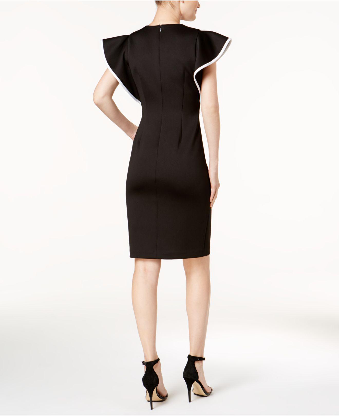 6f7bc209 Calvin Klein Piped-ruffle Sheath Dress in Black - Lyst