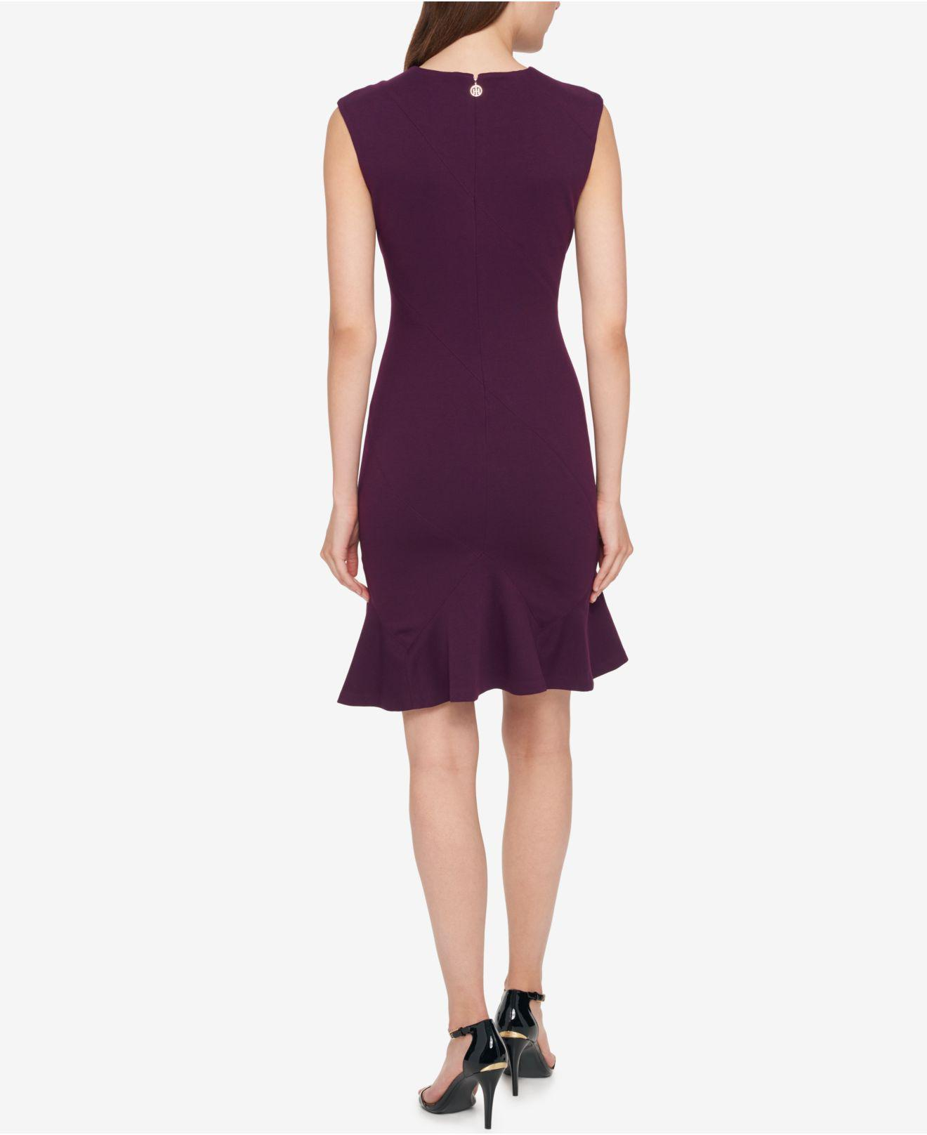 e2185131ec4f6 Tommy Hilfiger Flounce-hem Sheath Dress in Purple - Lyst