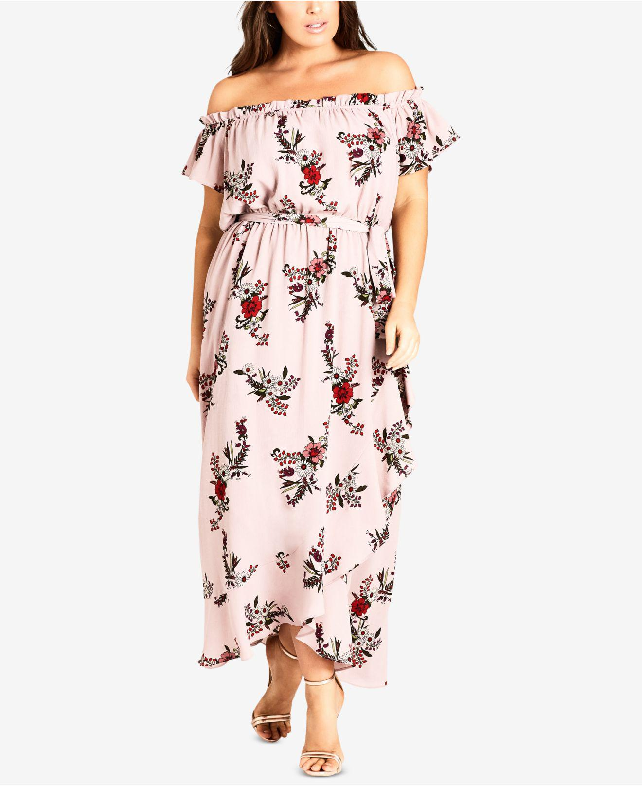 f011b360b97 Lyst - City Chic Trendy Plus Size Printed Off-the-shoulder Maxi ...