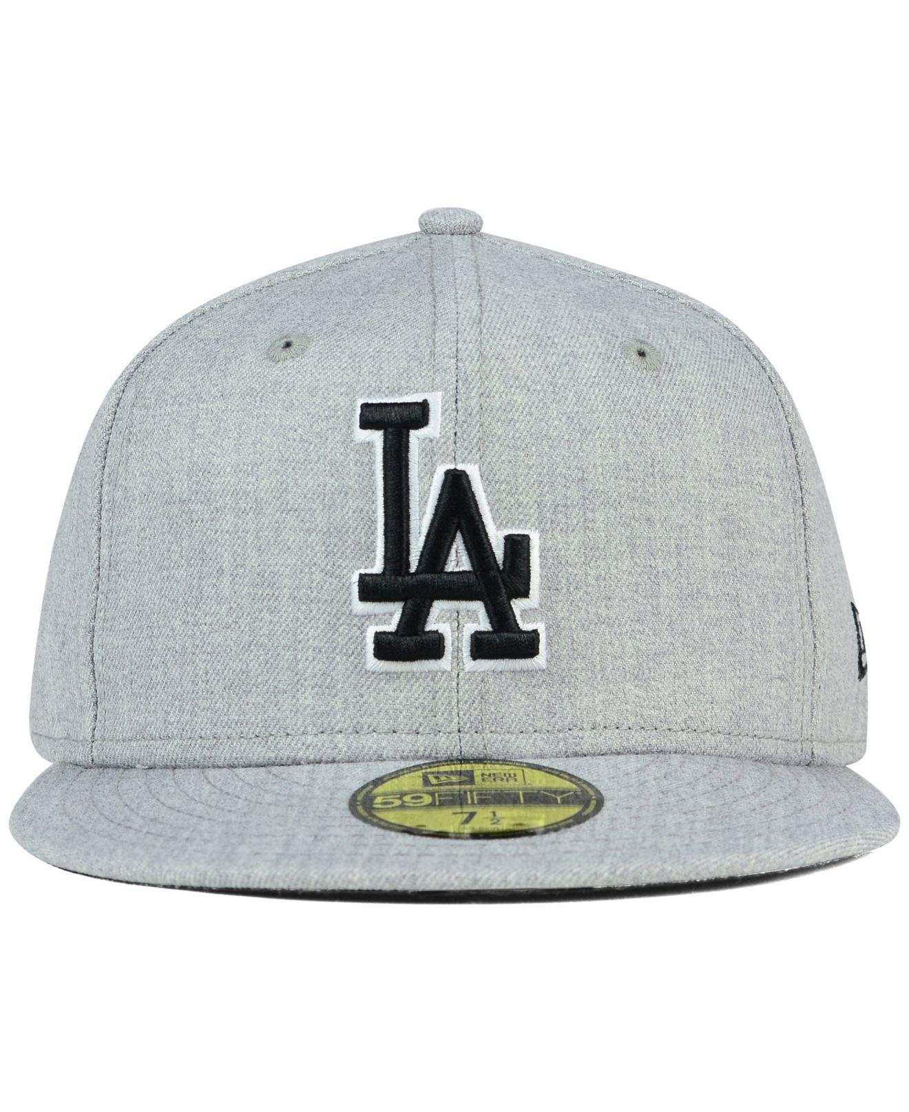 cheaper 8b7b8 f6b2e Lyst - KTZ Los Angeles Dodgers Heather Black White 59fifty Cap in Gray for  Men