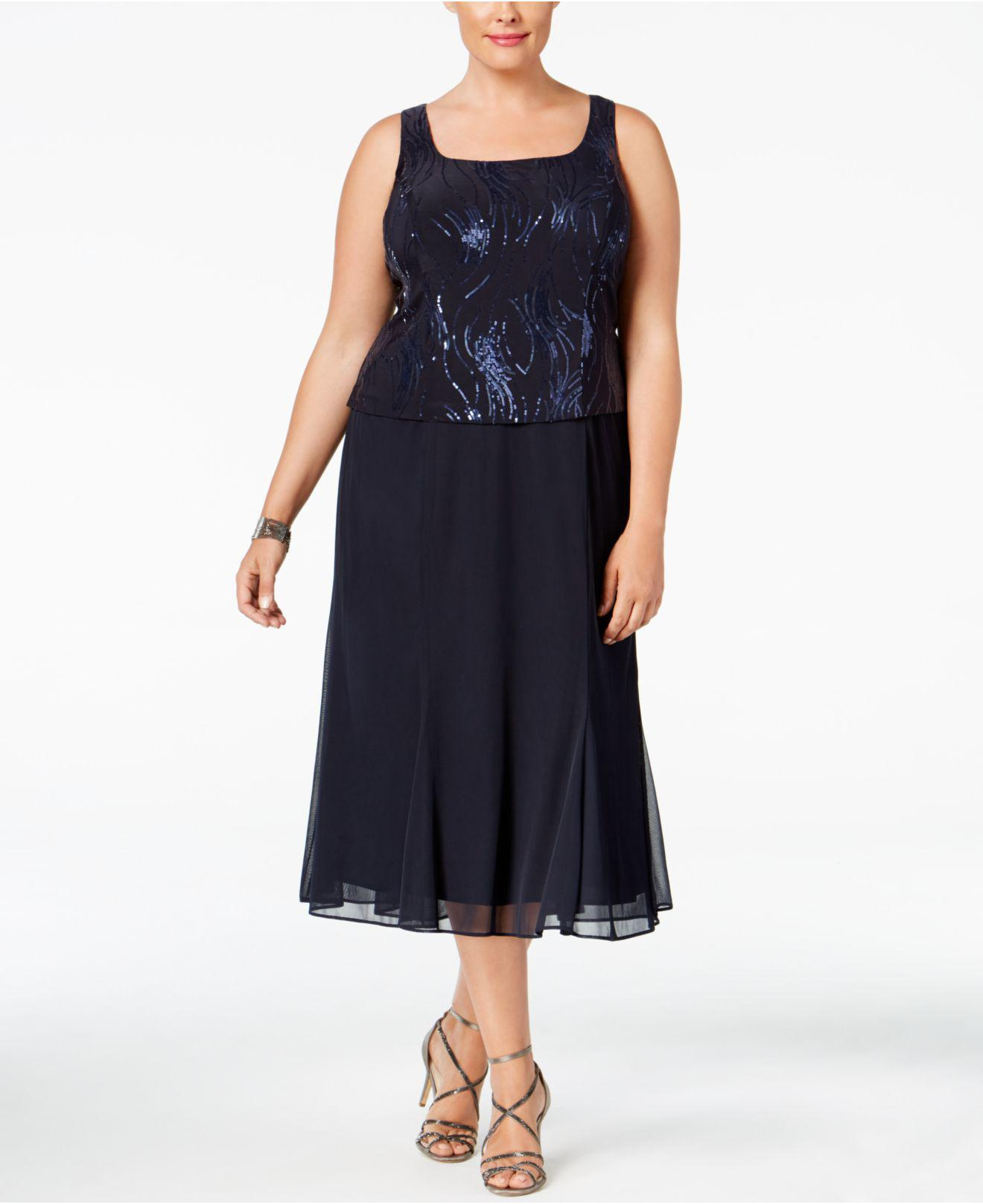 fc1454b1e4e97 Lyst - Alex Evenings Plus Size Sequined Chiffon Dress And Jacket in Blue -  Save 13%