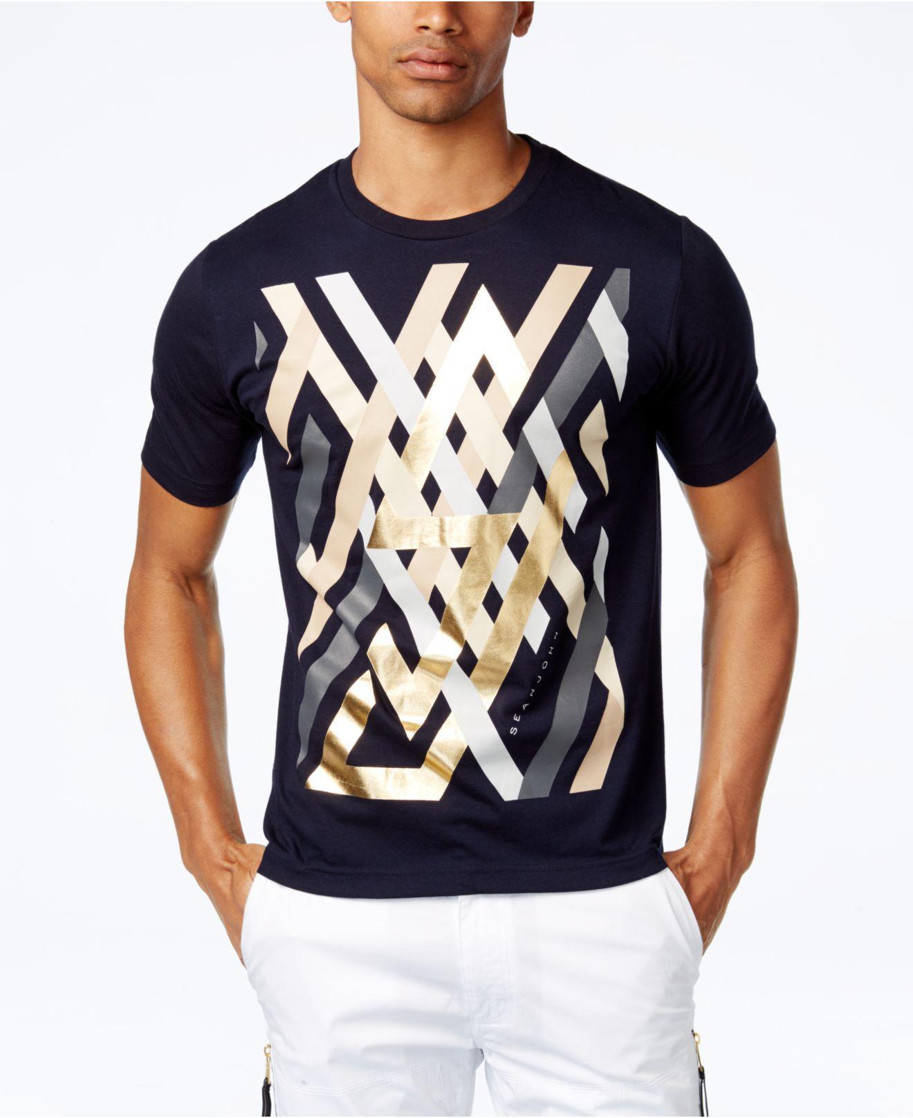 Lyst sean john men 39 s graphic print cotton t shirt in for Sean john t shirts for mens