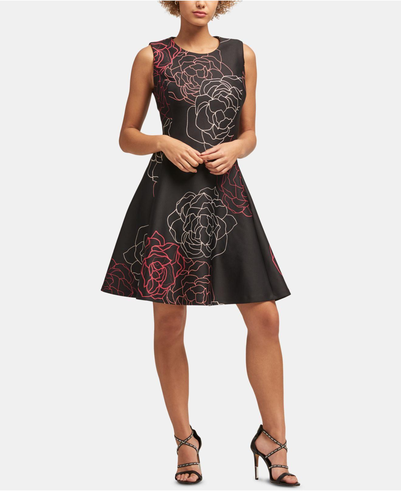 e6b6d68966f Lyst - DKNY Sleeveless Printed Fit   Flare Dress in Black