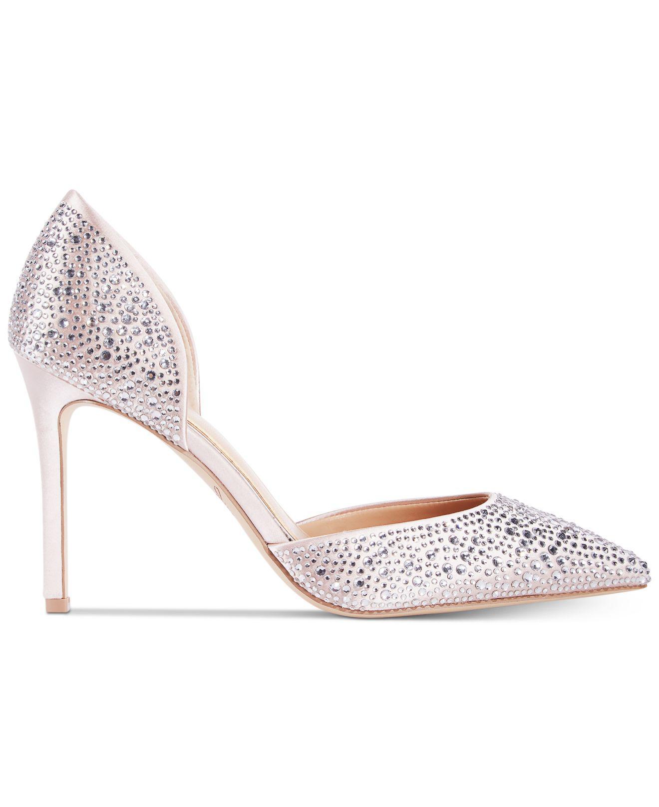 Jewel Badgley Mischka Womens Alexandra Satin Rhinestone Pointed Toe Heels
