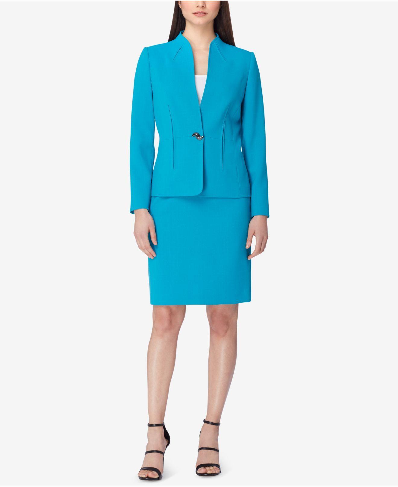 tahari swivel button skirt suit in blue lyst