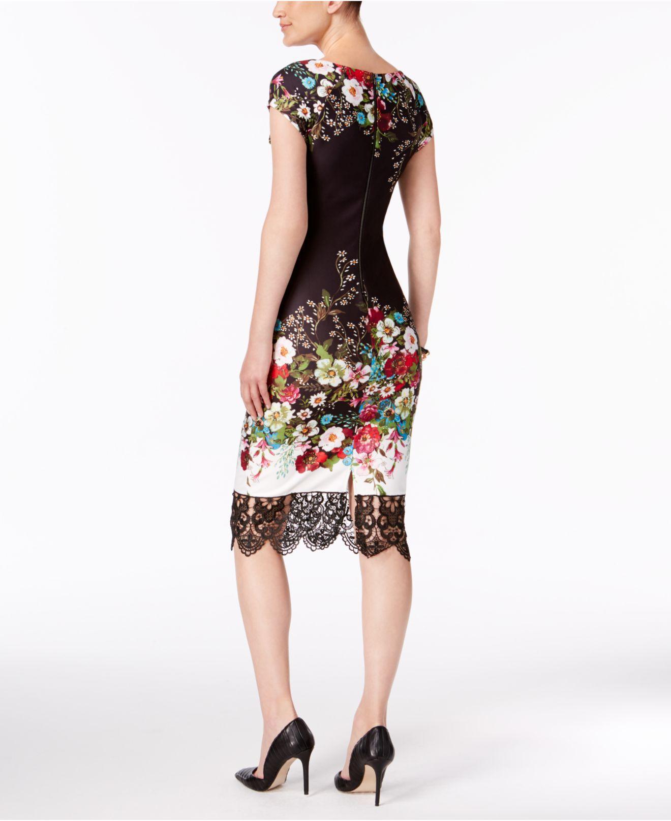 66e41af4 Eci Lace-trim Sheath Dress in Black - Lyst