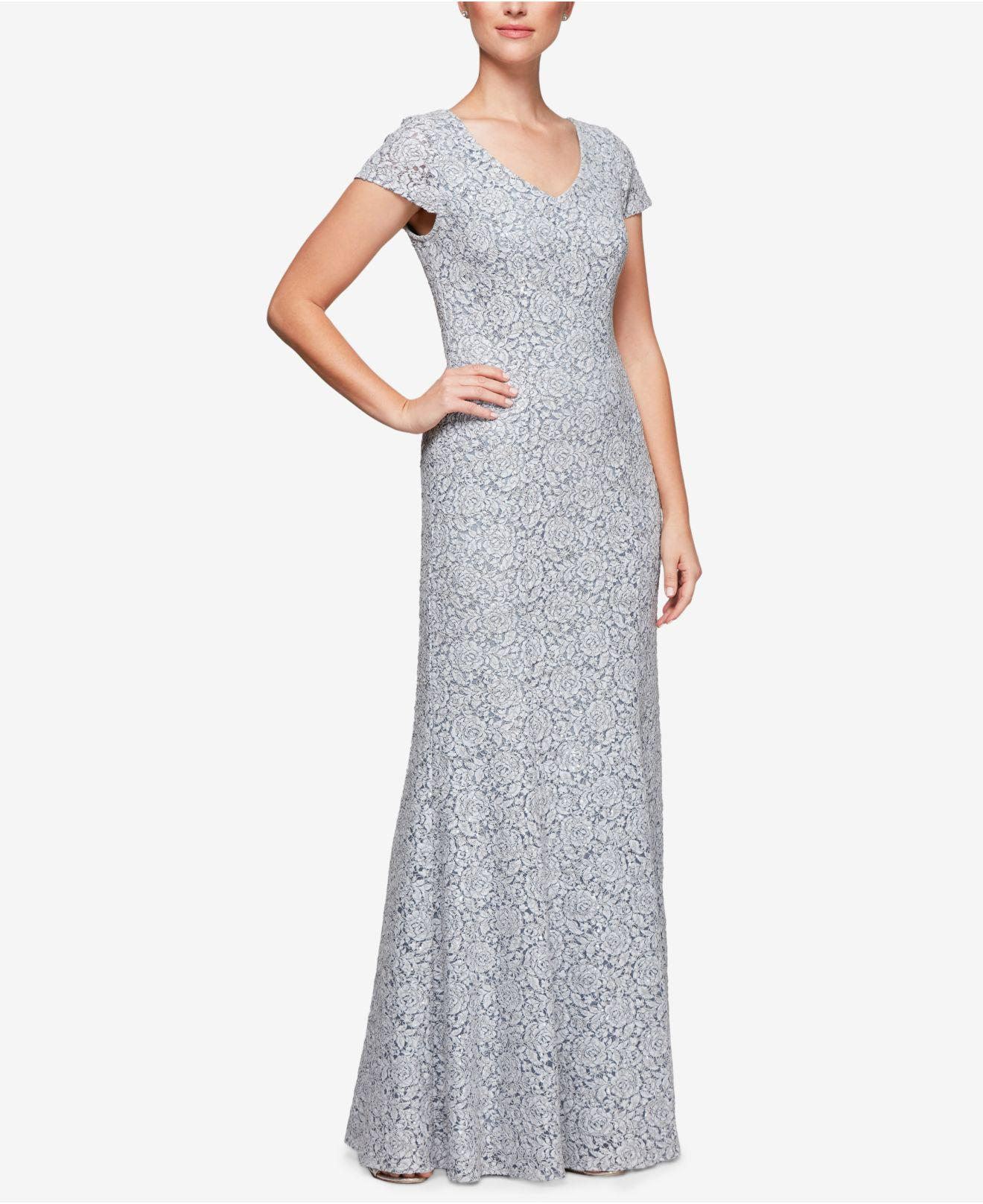 Lyst - Alex Evenings Petite Lace Cap-sleeve Gown in Gray