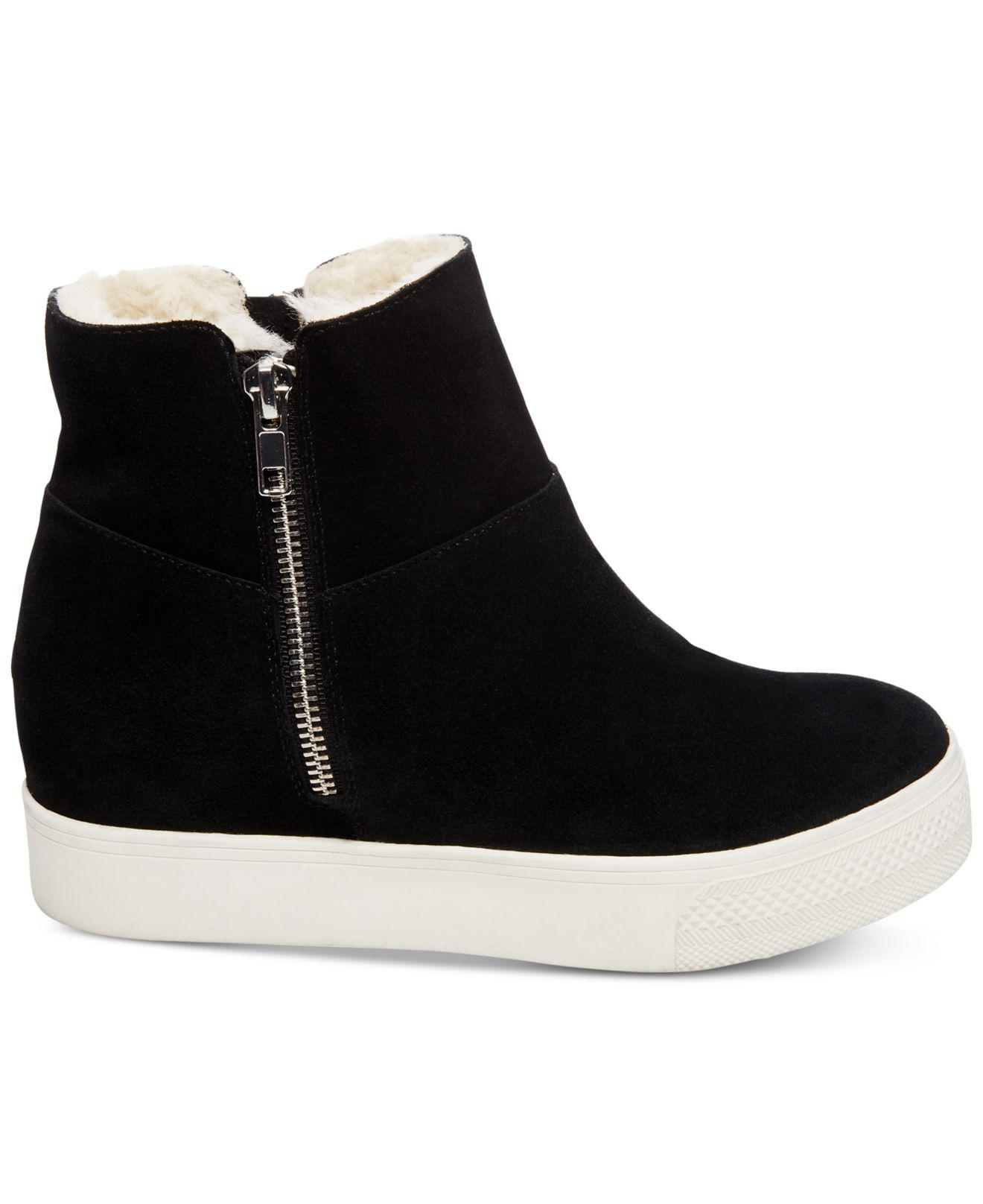 b7661581b1b Lyst - Steve Madden Wanda Faux-fur Wedge Sneakers in Black - Save 54%
