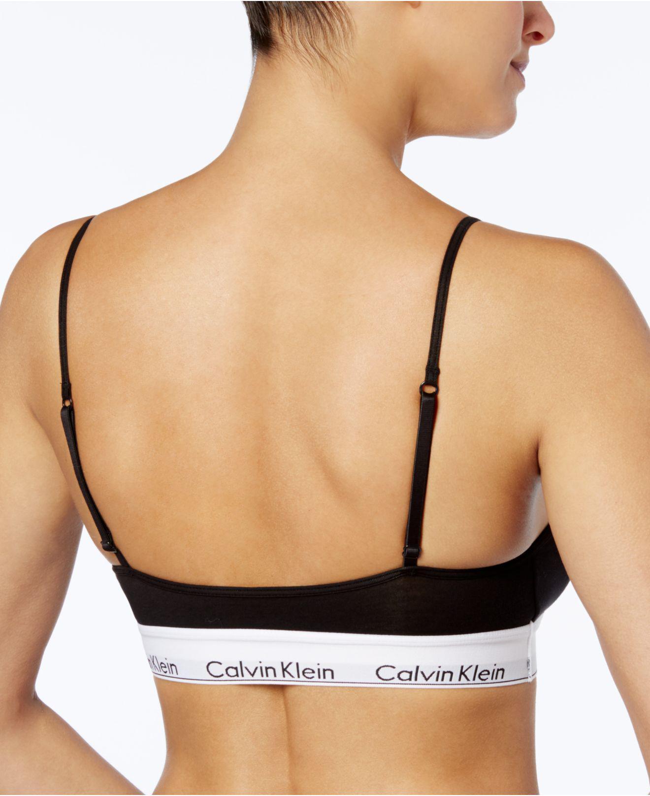 652ba4a2f1e6a8 Lyst - Calvin Klein Modern Cotton Adjustable Strap Bralette Qf1730 in Black