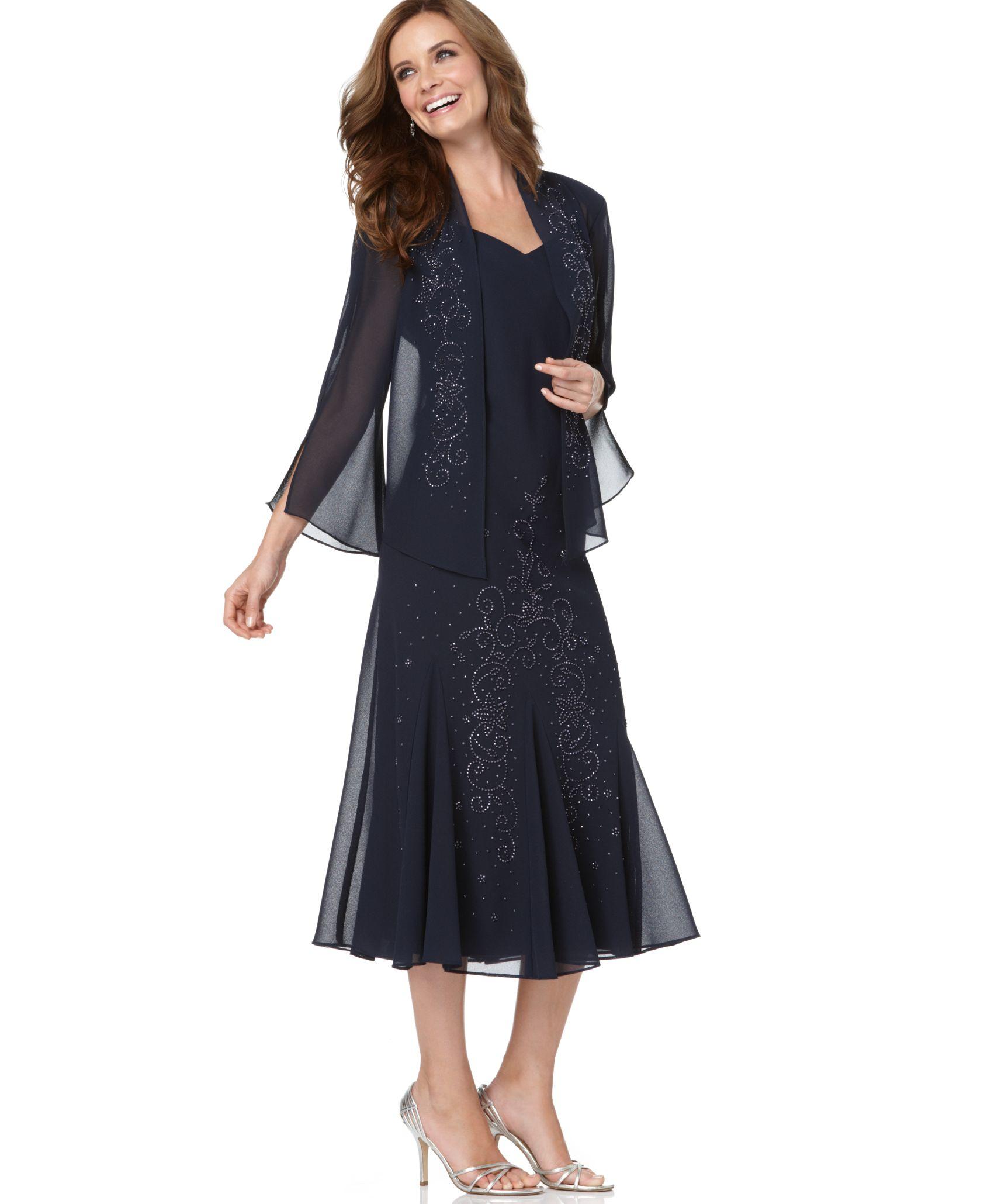 R m richards r m richards sleeveless beaded v neck dress for Macy s dresses for weddings