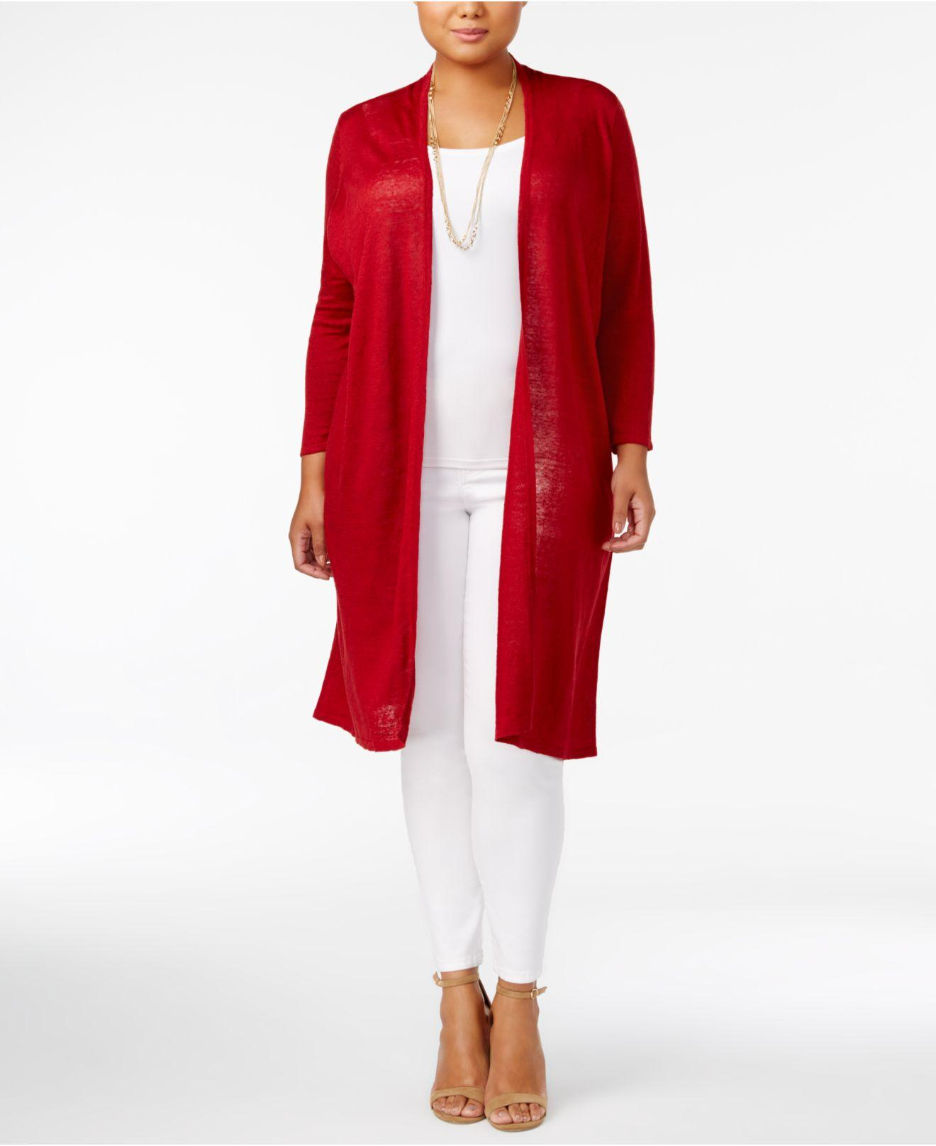 Alfani Plus Size Linen Duster Cardigan in Red | Lyst