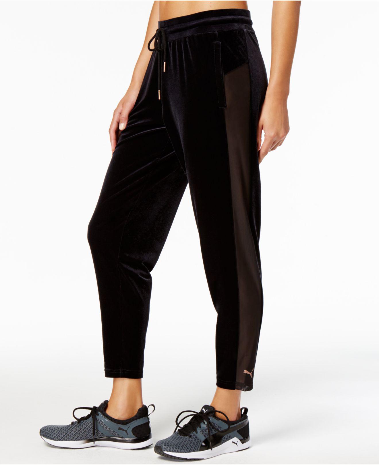 separation shoes a636f e3b0f PUMA Yogini Velvet Pants in Black - Lyst
