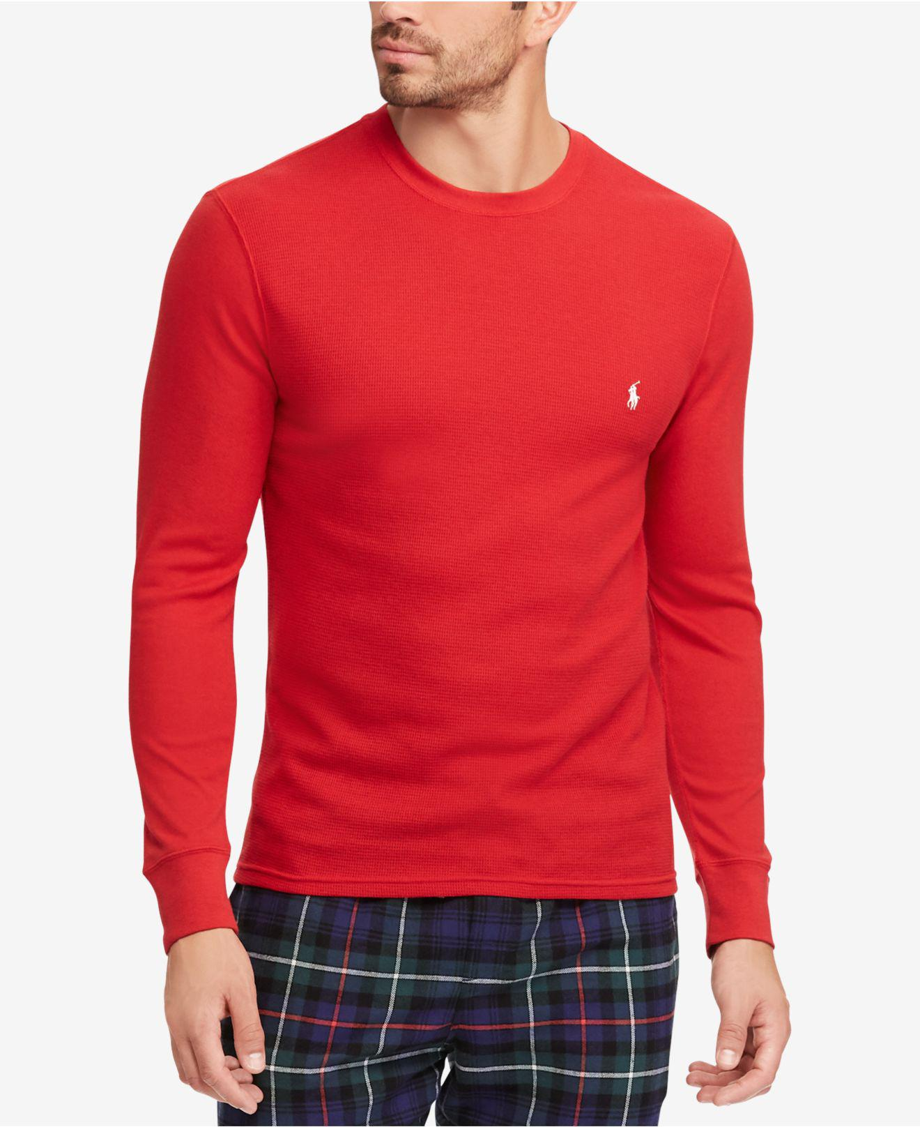 702f31ce Lyst - Polo Ralph Lauren Waffle-knit Thermal in Red for Men
