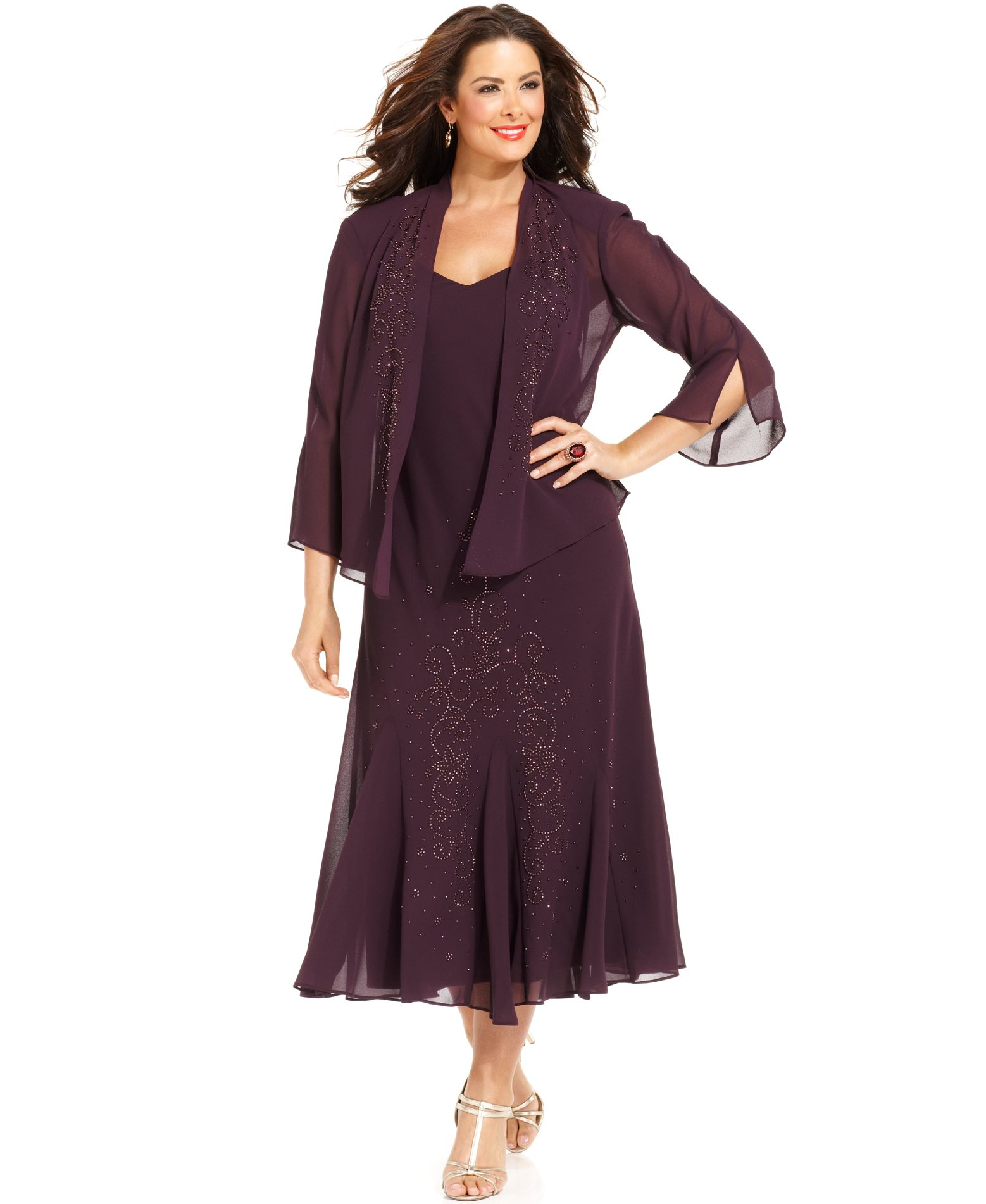 R & m richards Plus Size Beaded V neck Dress And Jacket in