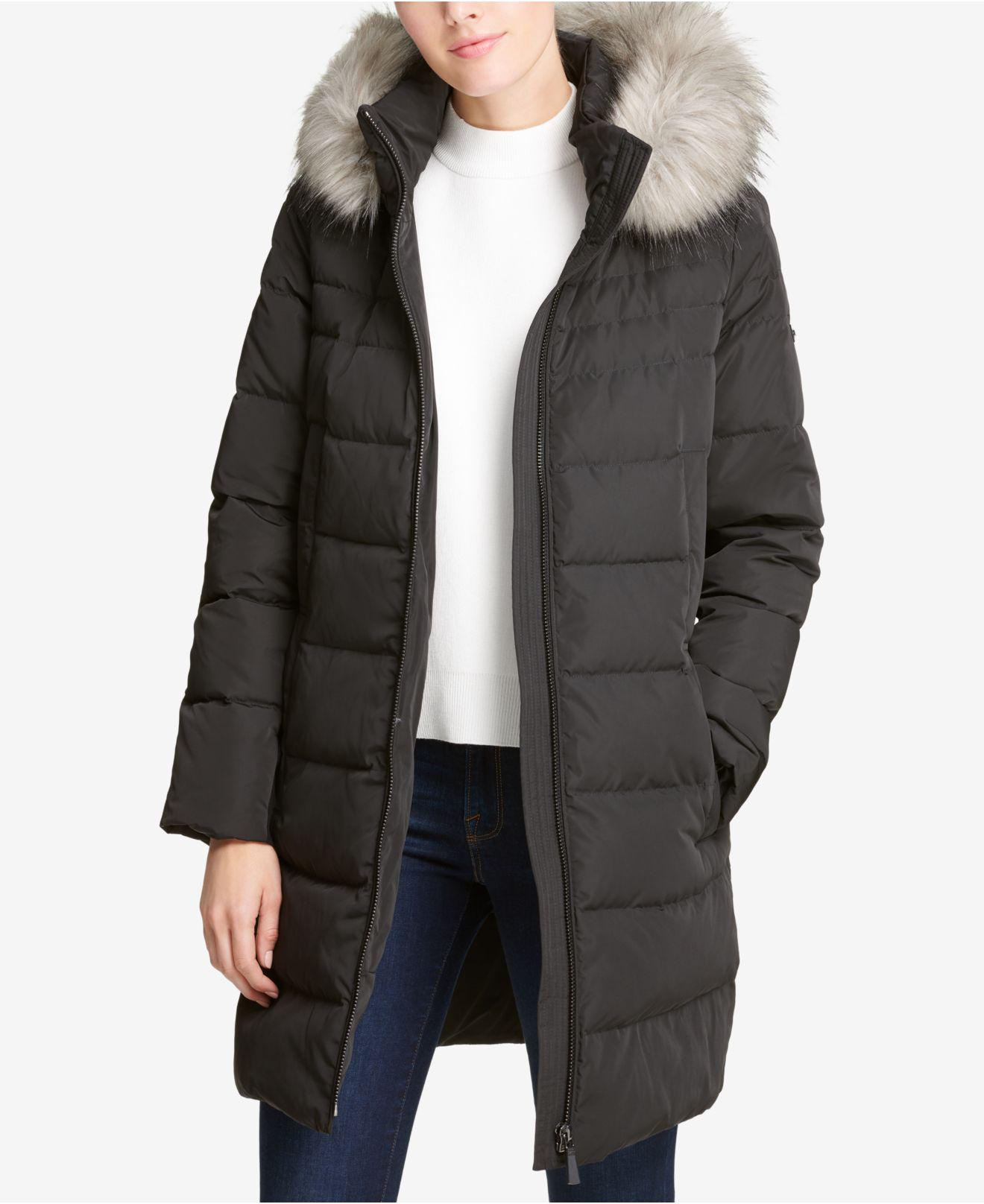 DKNY Petite Faux-fur-trim Hooded Puffer Coat, Created For ...