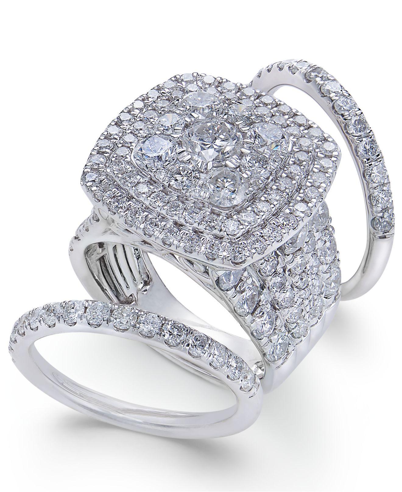 Macy s Diamond Multi level Halo Bridal Set 6 Ct T w In 14k