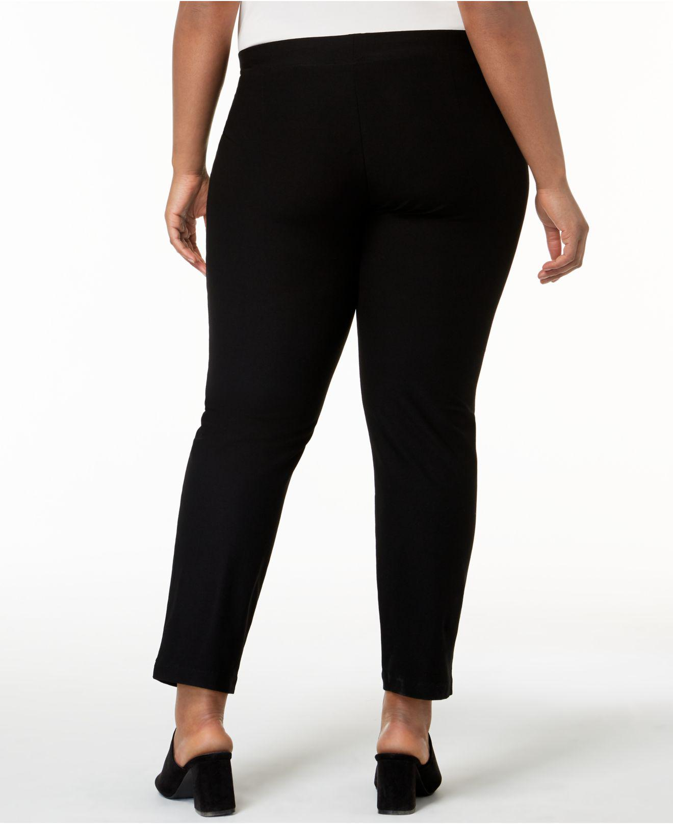 e4e10b3eaef Lyst - Eileen Fisher Plus Size System Pull-on Ankle Pants in Black