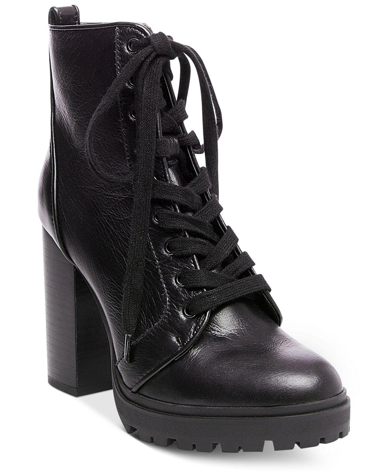 b162b86670b Lyst - Steve Madden Women s Laurie Platform Lace-up Booties in Black