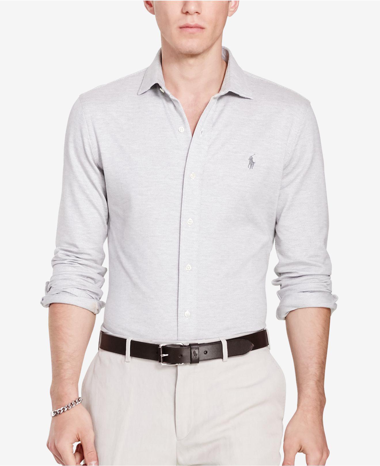 Men's Herringbone Knit Dress Shirt