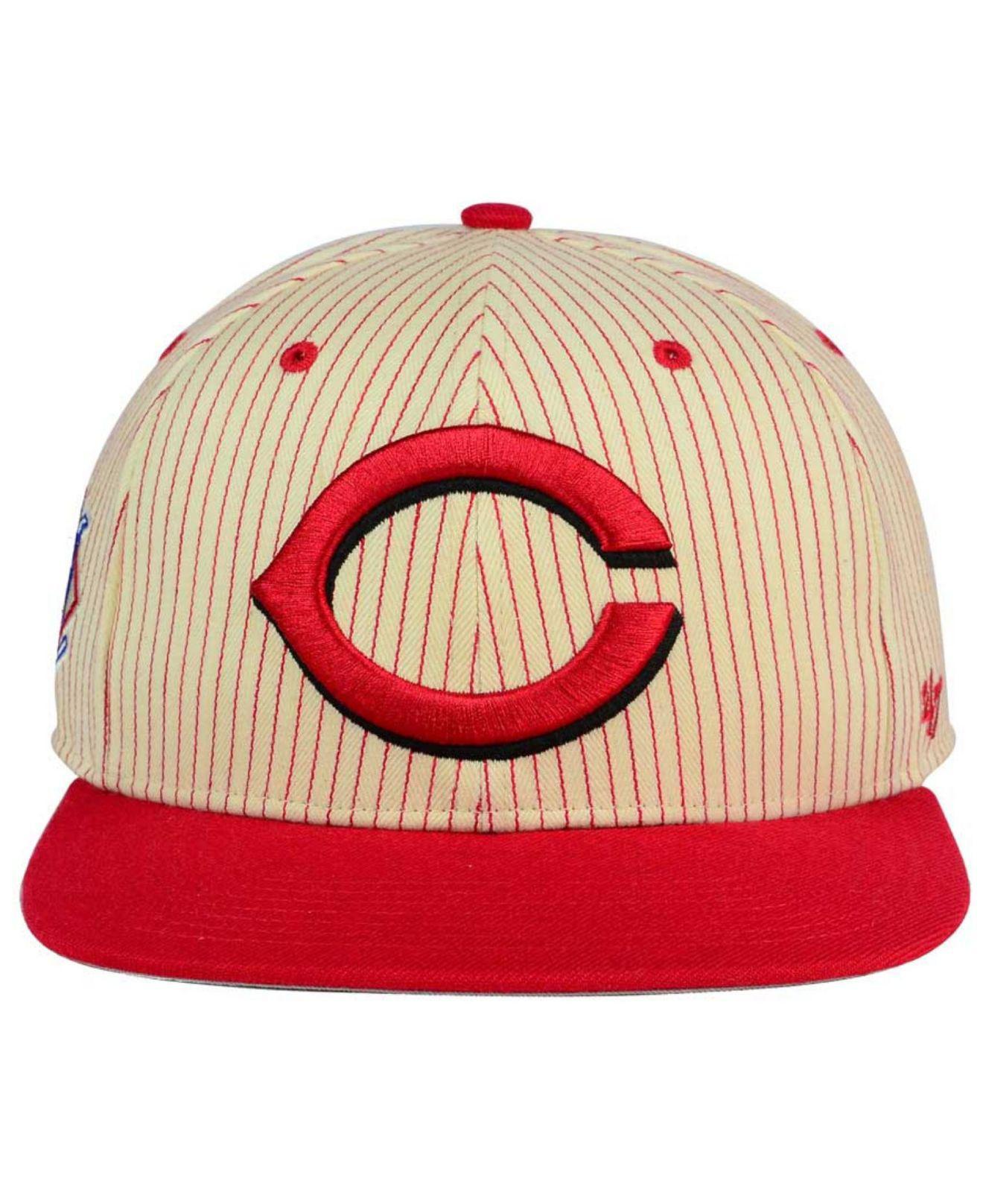 c360e91bde1 Lyst - 47 Brand Cincinnati Reds Woodside Captain Snapback Cap in Red ...