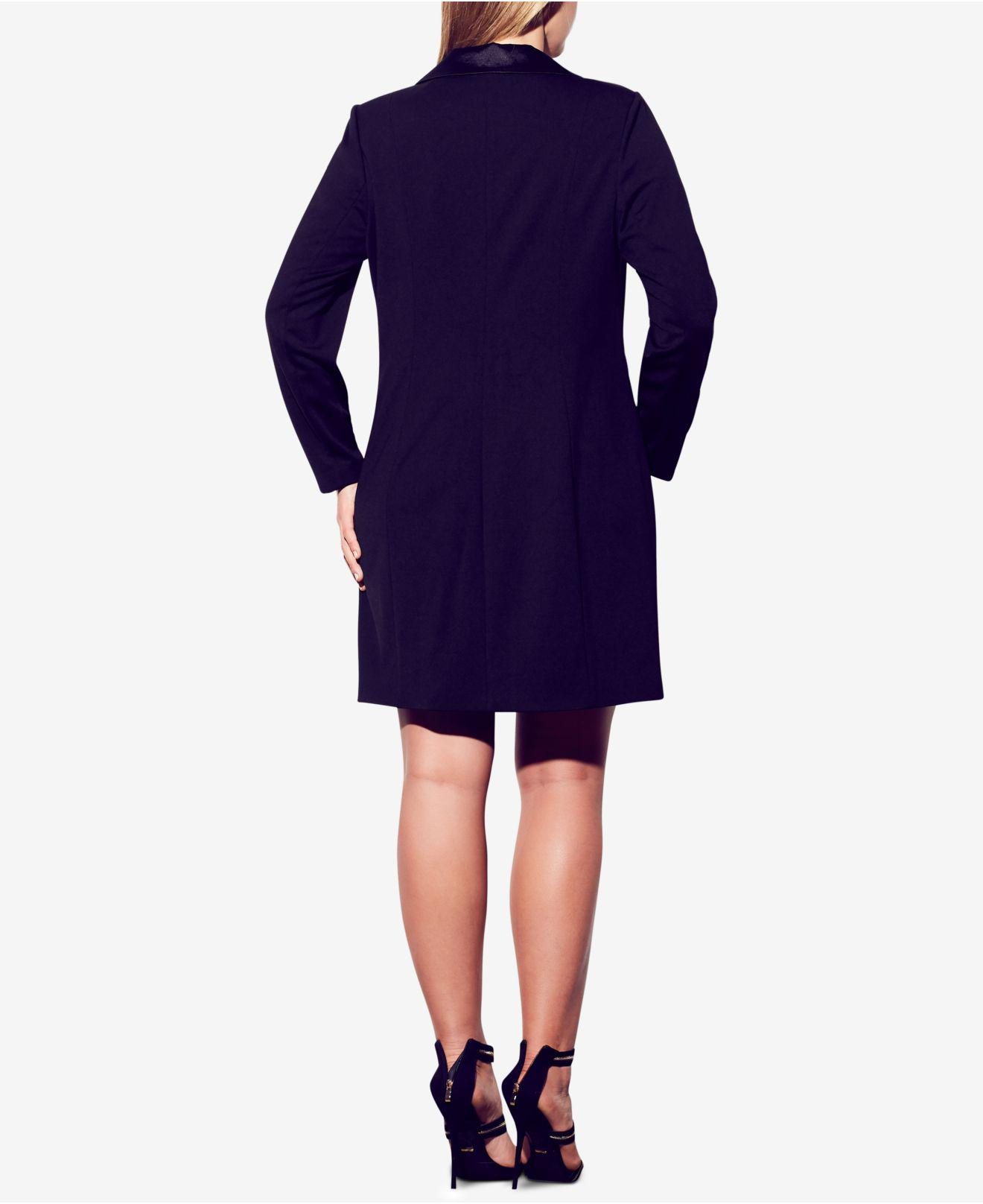 Trendy Plus Size Double-breasted Tuxedo Dress