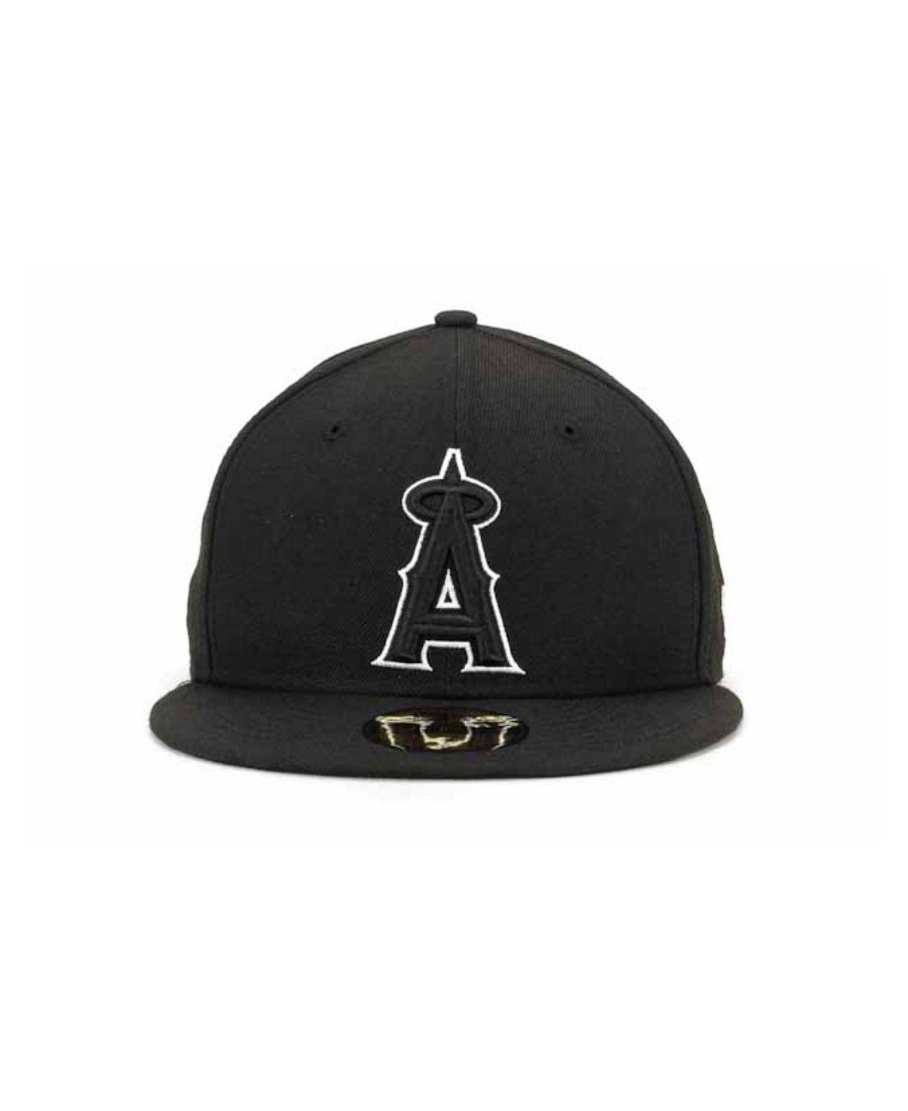 7034698014f ... red for men a76e5 4d131  coupon lyst ktz los angeles angels of anaheim  mlb black and white fashion 59fifty cap in