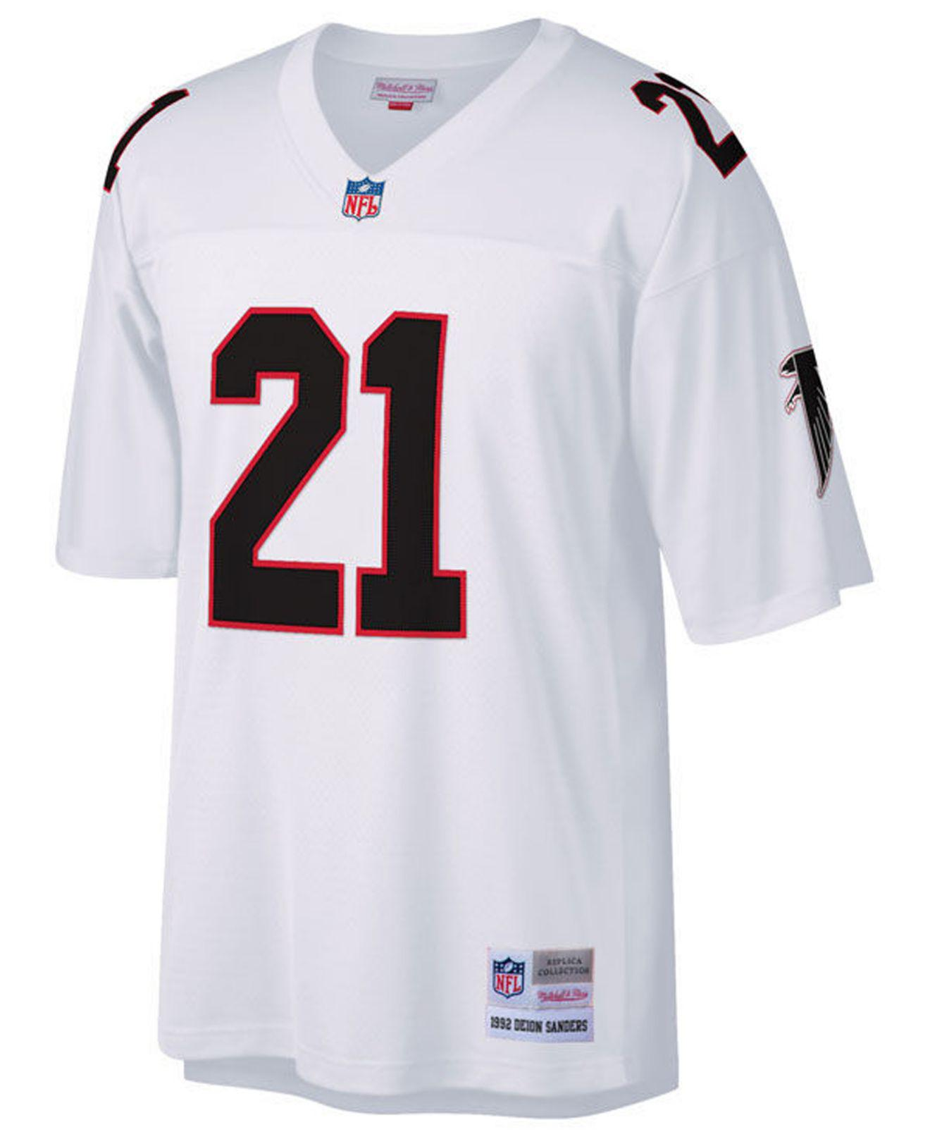 the best attitude be2b0 1fba7 Men's White Deion Sanders Atlanta Falcons Replica Throwback Jersey