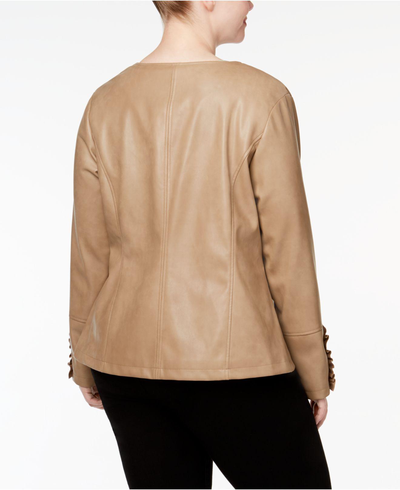 524d0ac560c Lyst - Alfani Plus Size Ruffle-trim Faux-leather Jacket
