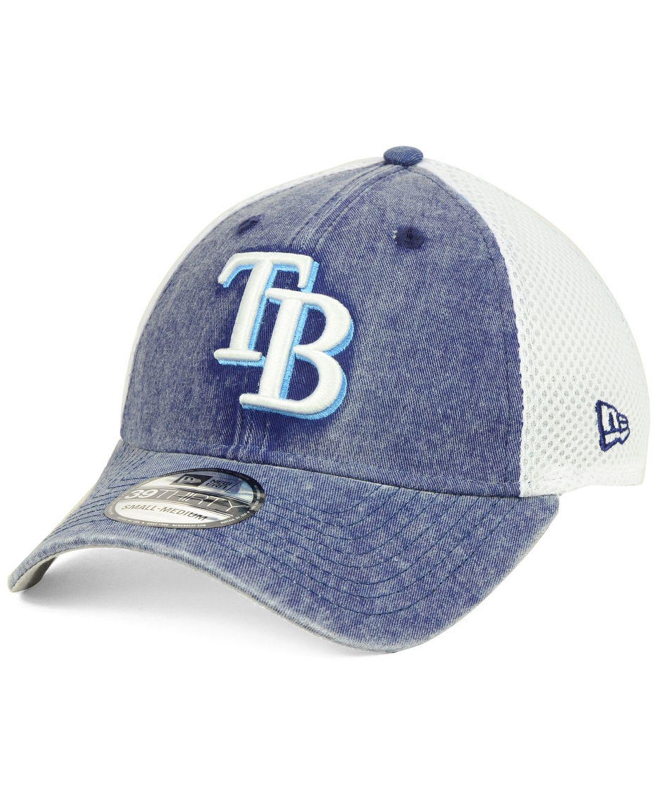 new product ca1c8 572c0 KTZ. Men s Blue Tampa Bay Rays Hooge Neo 39thirty Cap