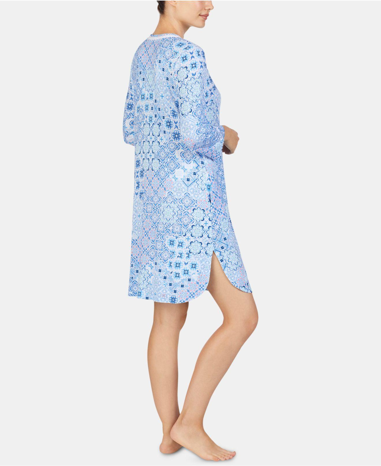 e3758135a5d Lyst - Ellen Tracy Printed Embroidered Trim Tunic Nightgown in Blue