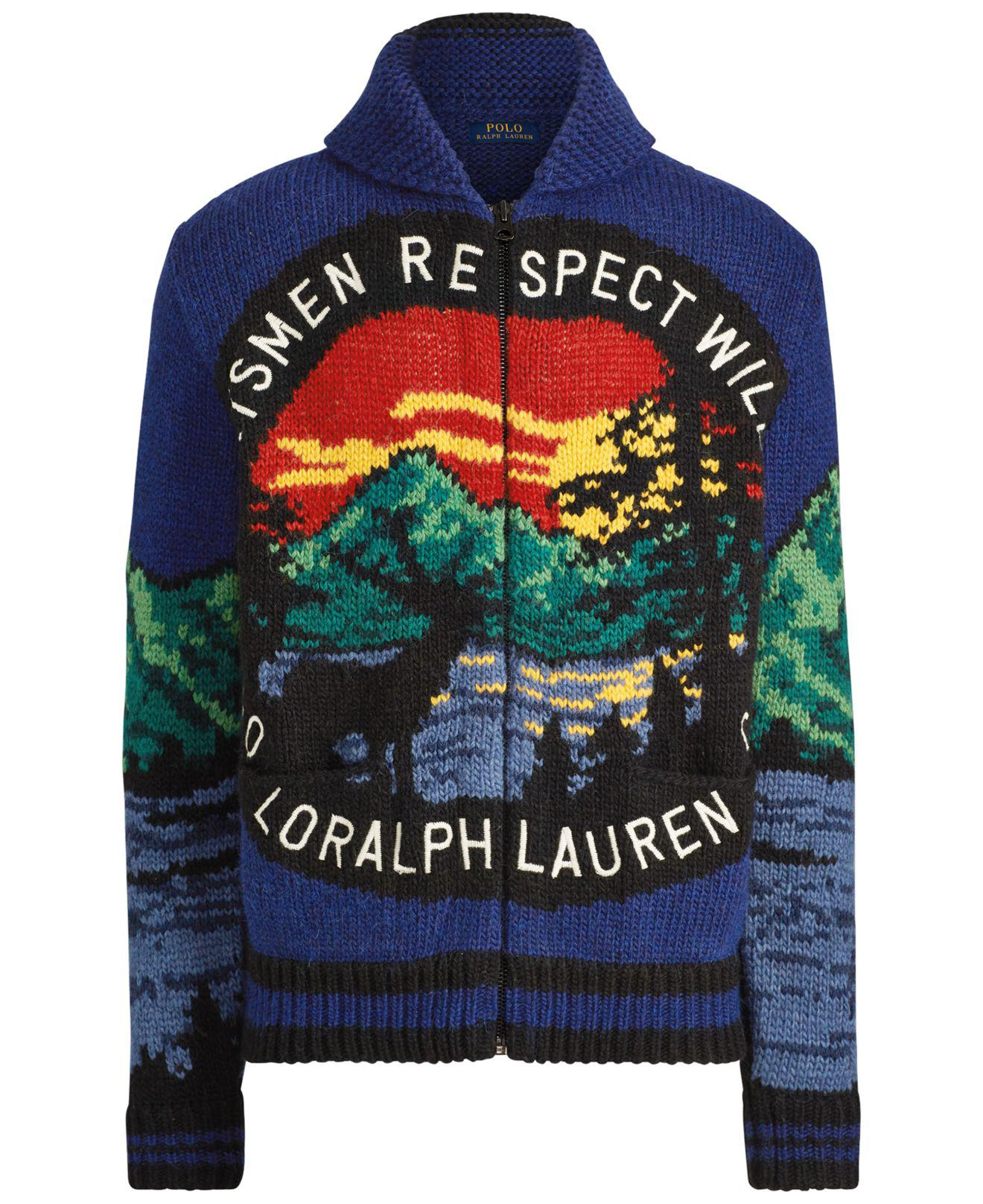 Polo Ralph Lauren Wool Sportsmen Respect Wildlife Knitted Cardigan For Men Lyst