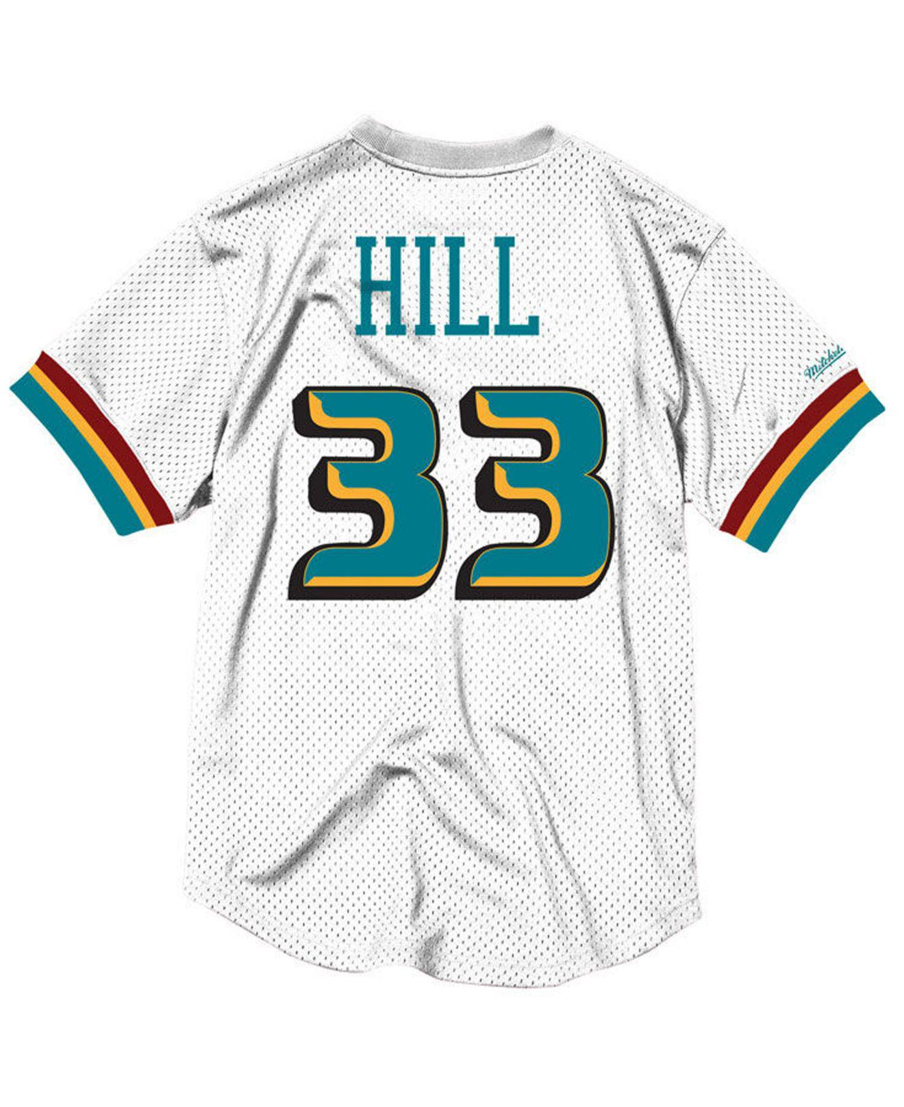 check out 9bb8b 0ba2d Mitchell & Ness White Grant Hill Detroit Pistons Name And Number Mesh  Crewneck Jersey for men